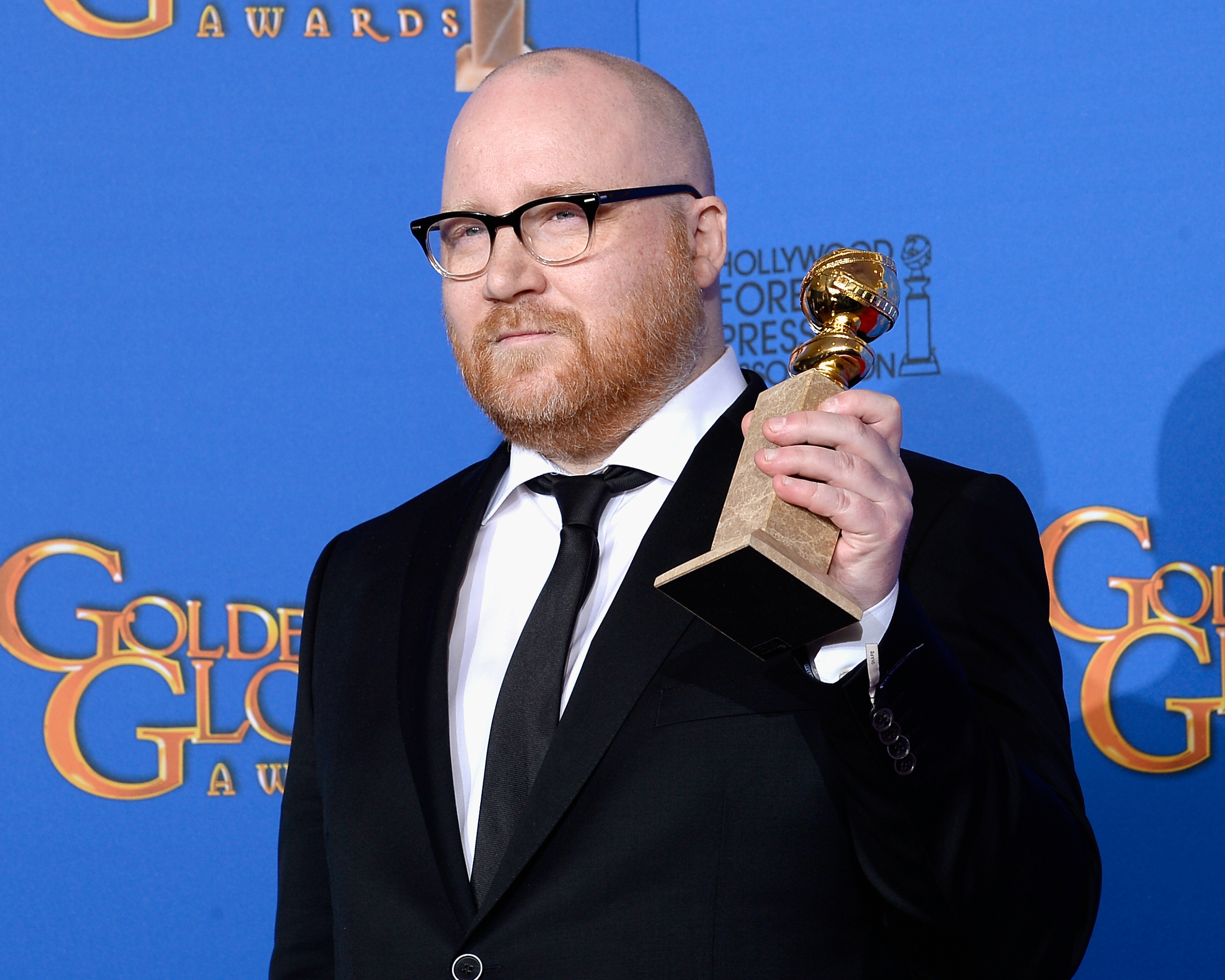 Composer Johann Johannsson, winner of Best Original Score for the Motion Picture 'The Theory of Everything', poses in the press room at the 72nd Annual Golden Globe Awards held at the Beverly Hilton Hotel on January 11, 2015.
