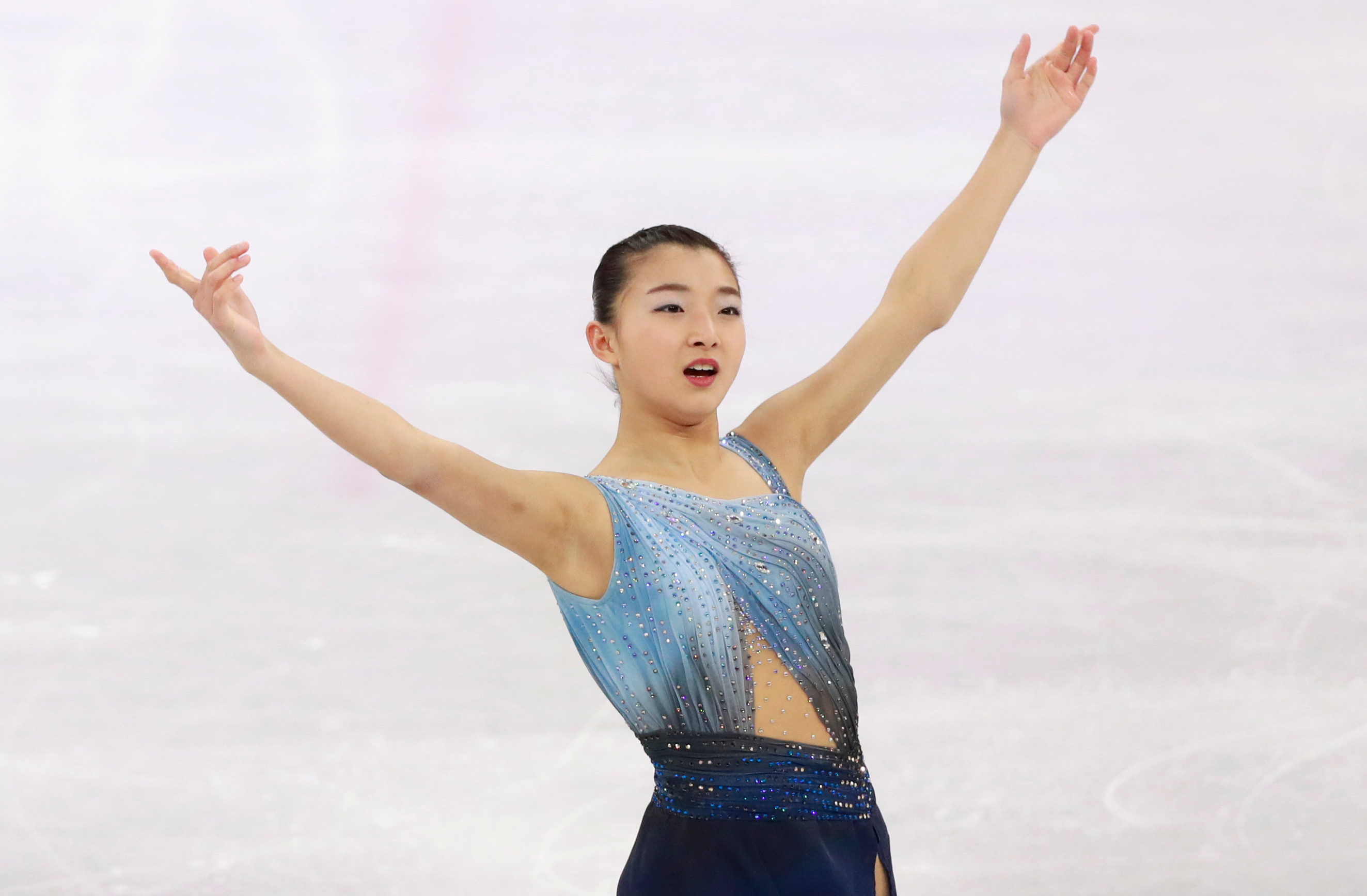 Kaori Sakamoto of Japan in action during the Women Single Short Program of the Figure Skating competition at the Gangneung Ice Arena during the PyeongChang 2018 Olympic Games, South Korea, 21 February 2018.