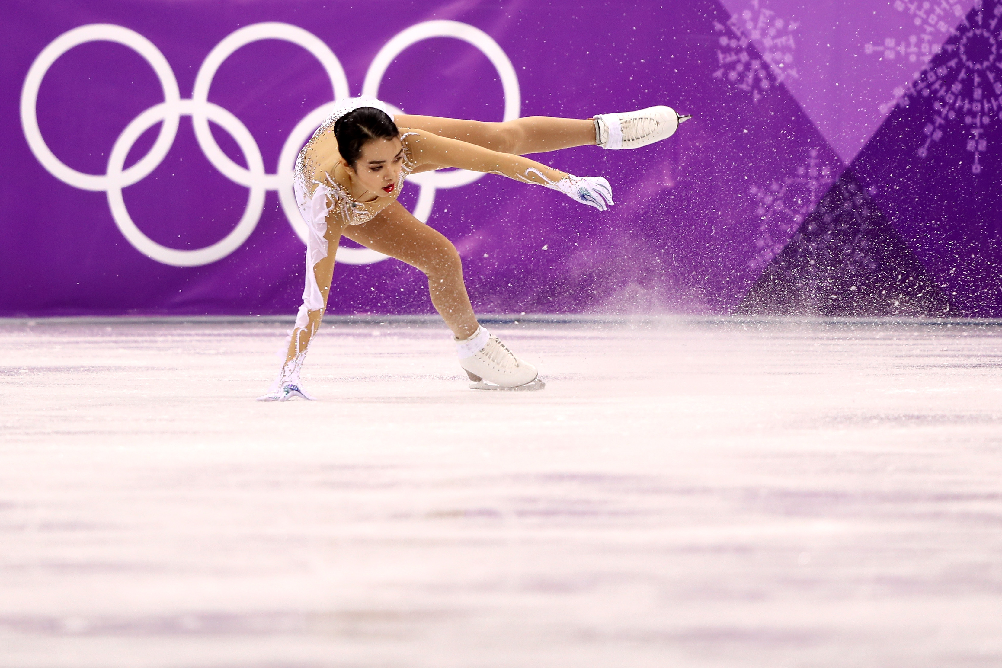Karen Chen of the United States competes during the Ladies Single Skating Short Program on day twelve of the PyeongChang 2018 Winter Olympic Games at Gangneung Ice Arena on February 21, 2018 in Gangneung, South Korea