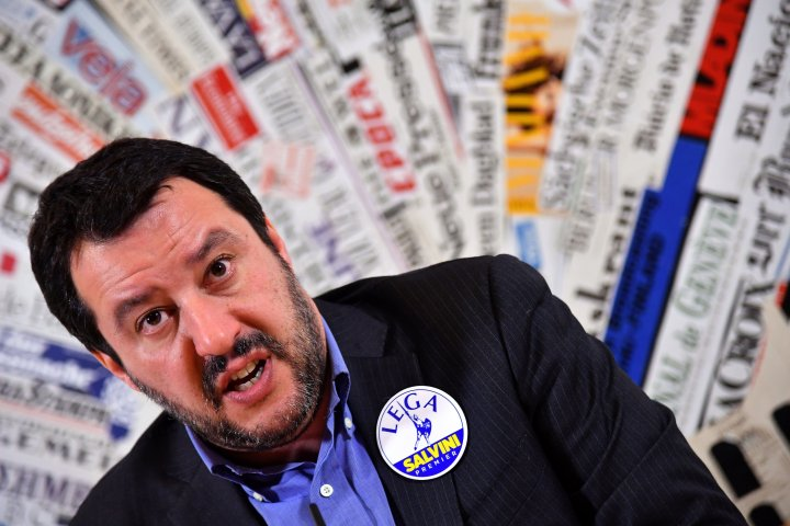 Italy's Lega Nord party (Northern League) Matteo Salvini answers questions at the Foreign Press Association in Rome on February 22, 2018.