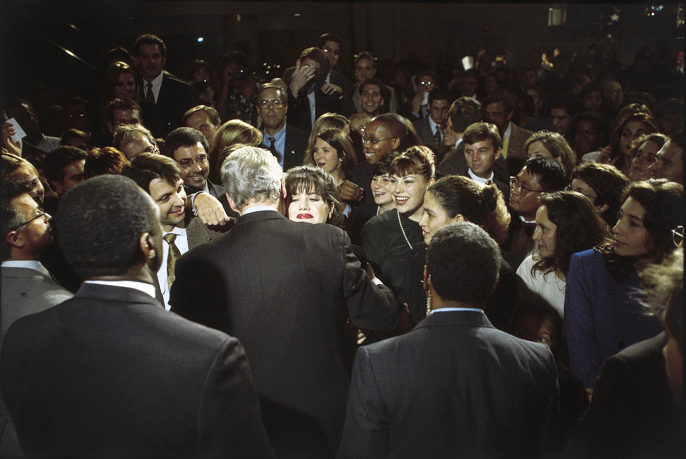 Bill Clinton hugs Monica Lewinsky at a fundraiser in 1996.