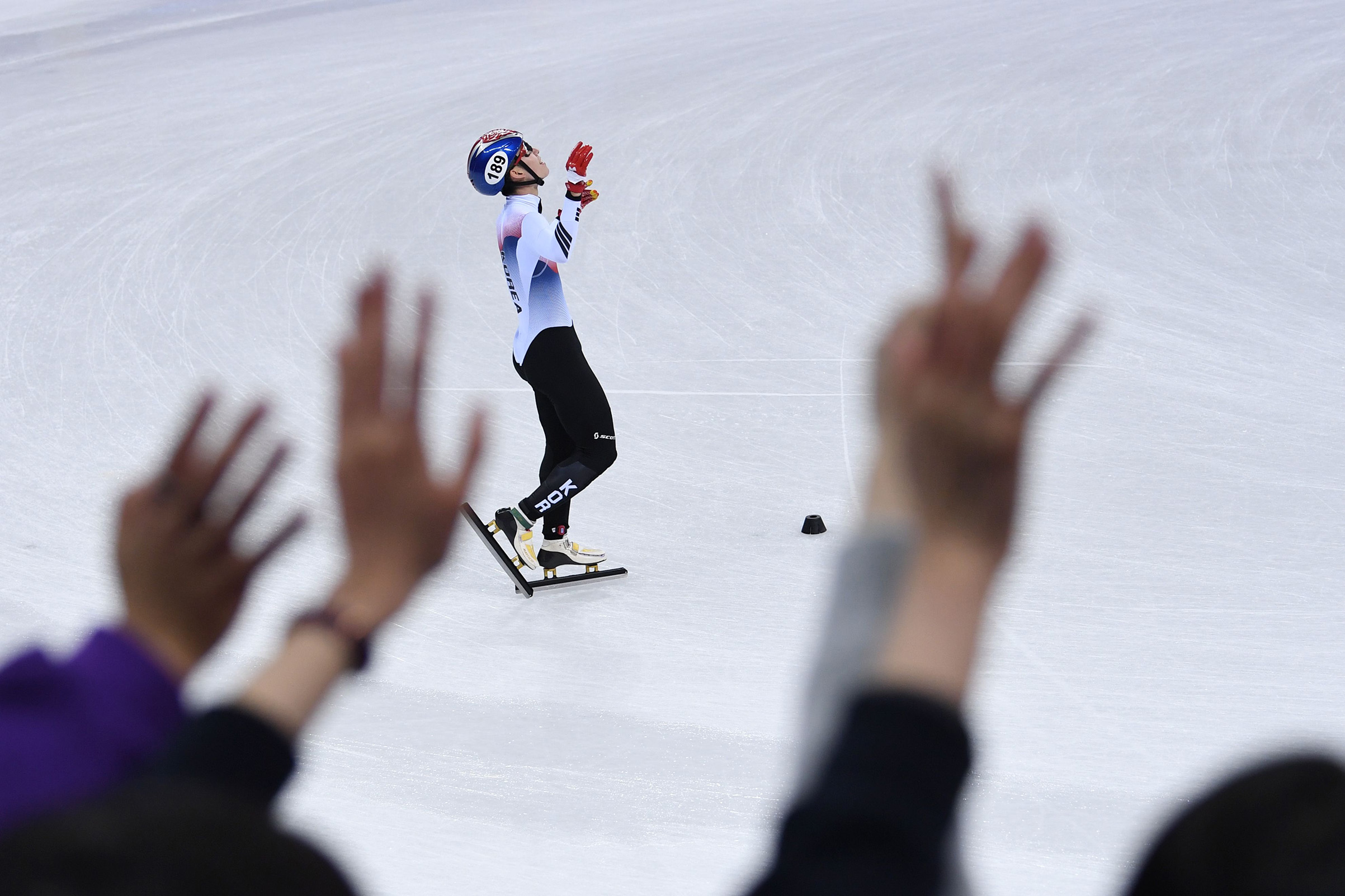 South Korea's Lim Hyojun celebrates after the men's 5,000m relay short track speed skating heat event on Feb. 13, 2018.