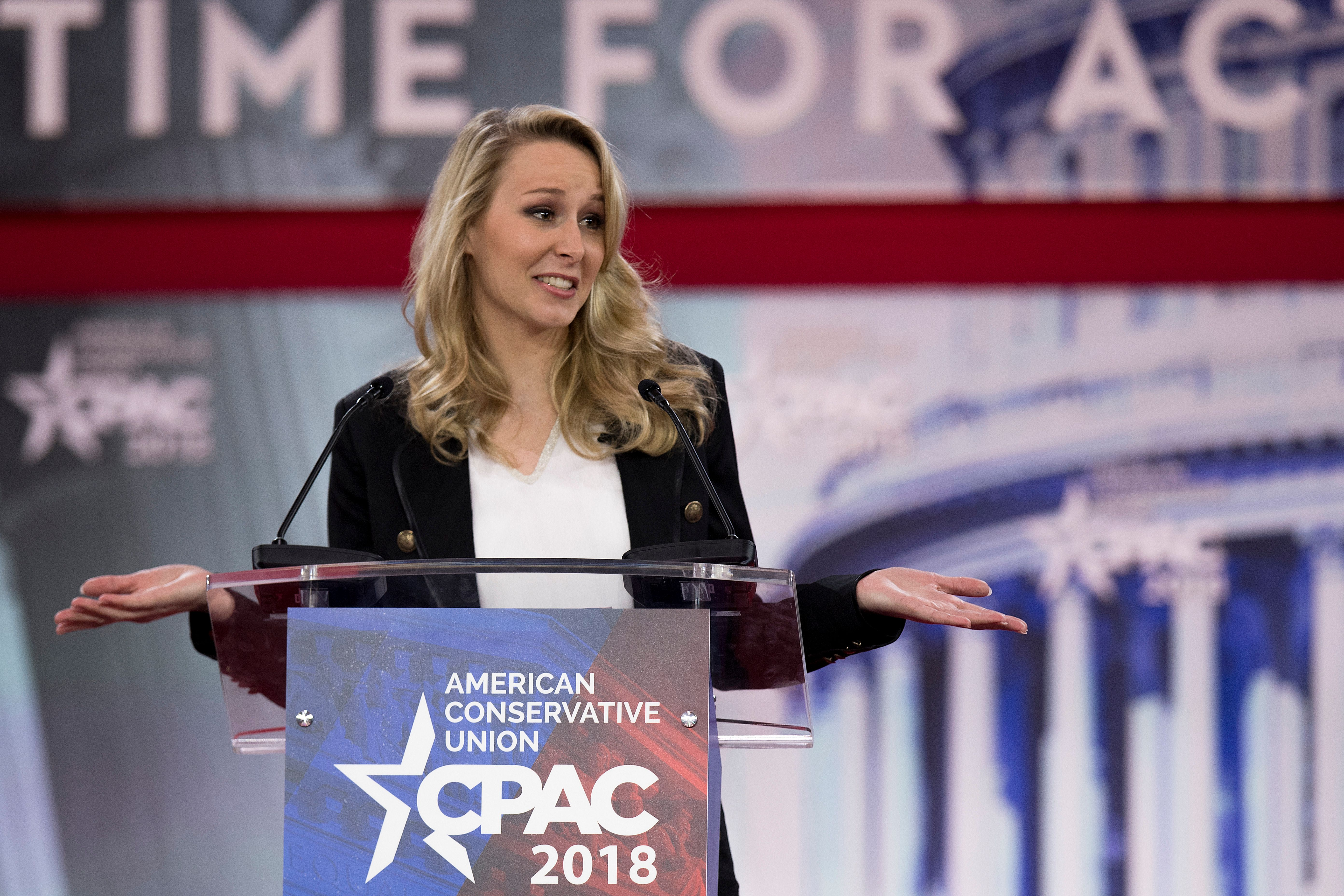 French far-right National Front (FN) party former member of parliament Marion Marechal-Le Pen speaks during the 2018 Conservative Political Action Conference in Oxen Hill, Maryland, on February 22, 2018