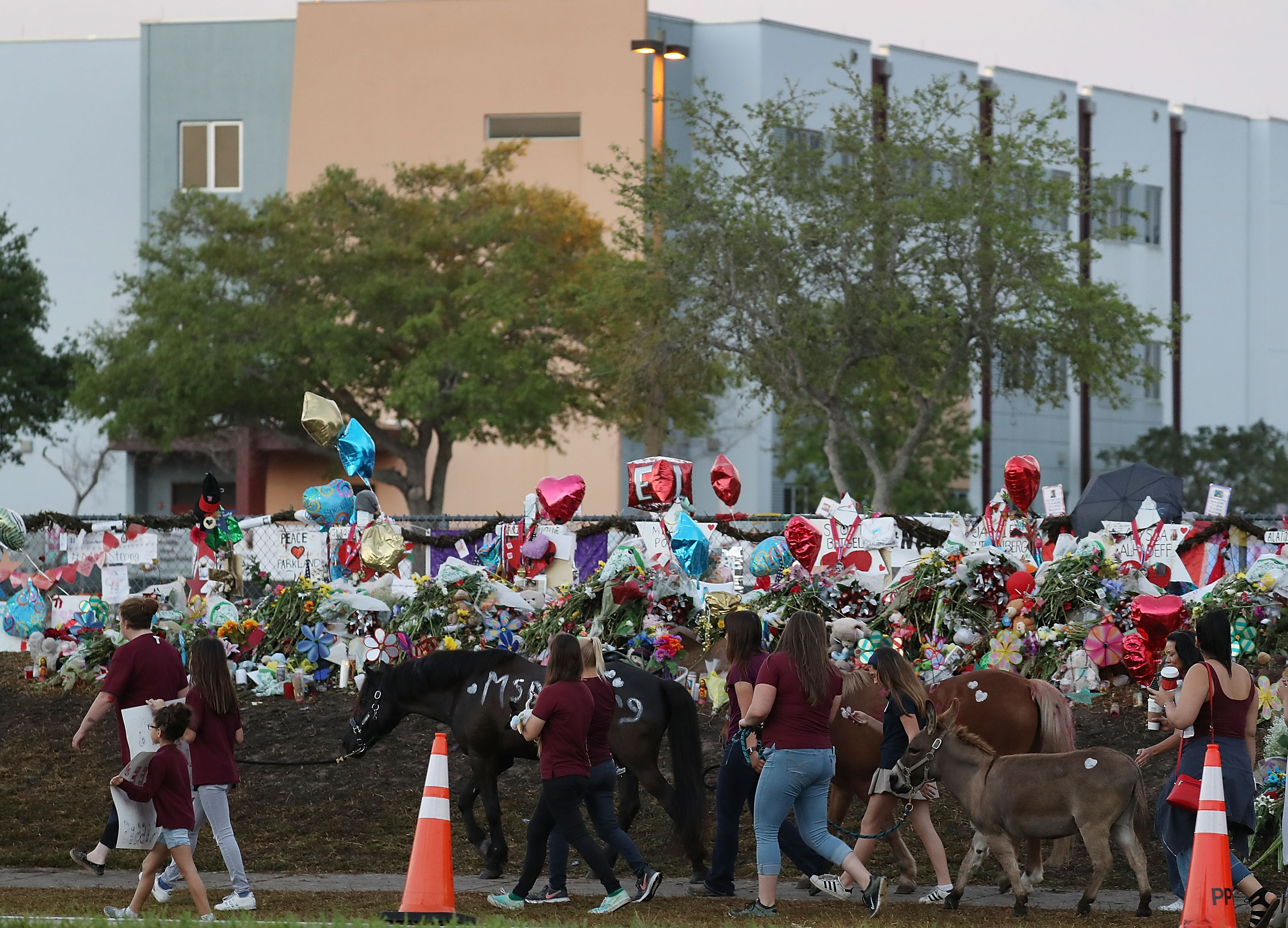People arrive to offer support at Marjory Stoneman Douglas High School as student arrive to attend classes for the first time since the shooting that killed 17 people on February 14  at the school on February 28, 2018 in Parkland, Florida.