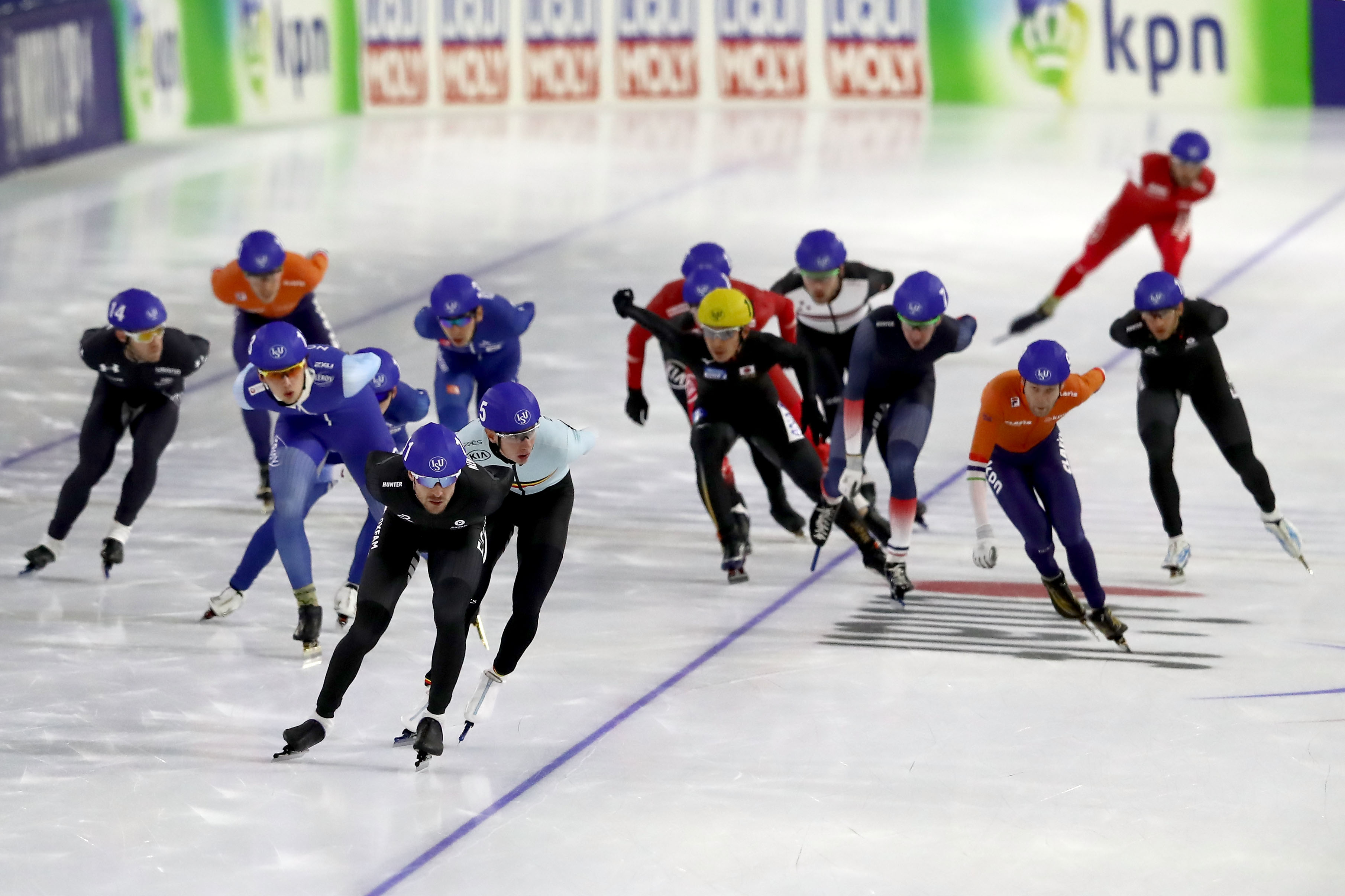 Skaters compete during the men mass start final on Day Two during the ISU World Cup Speed Skating at the Thialf on Nov. 11, 2017 in Heerenveen, Netherlands. Christof Koepsel - ISU—ISU via Getty Images