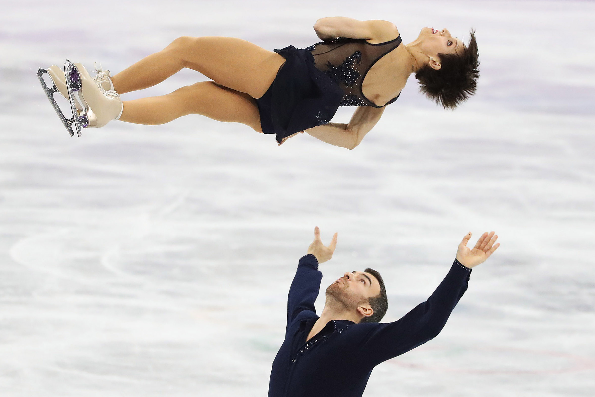 Meagan Duhamel and Eric Radford of Canada perform in the Figure Skating Pairs Short program at the PyeongChang 2018 Winter Olympics at the Gangneung Ice Arena in Gangneung in Pyeongchang in South Korea on Feb. 14, 2018.