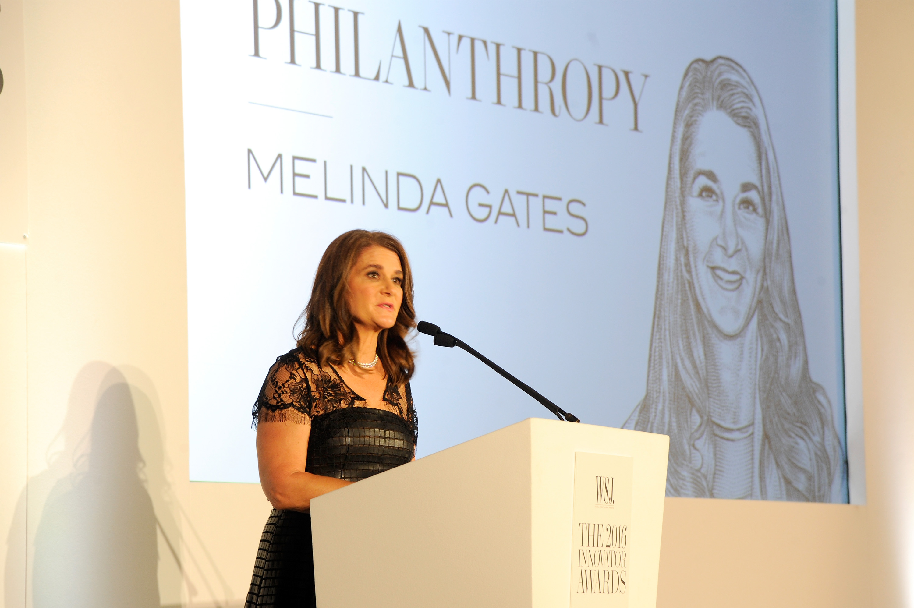 Melinda Gates accepts the Innovator Award in Philanthropy onstage at the WSJ Magazine 2016 Innovator Awards at Museum of Modern Art on November 2, 2016 in New York City
