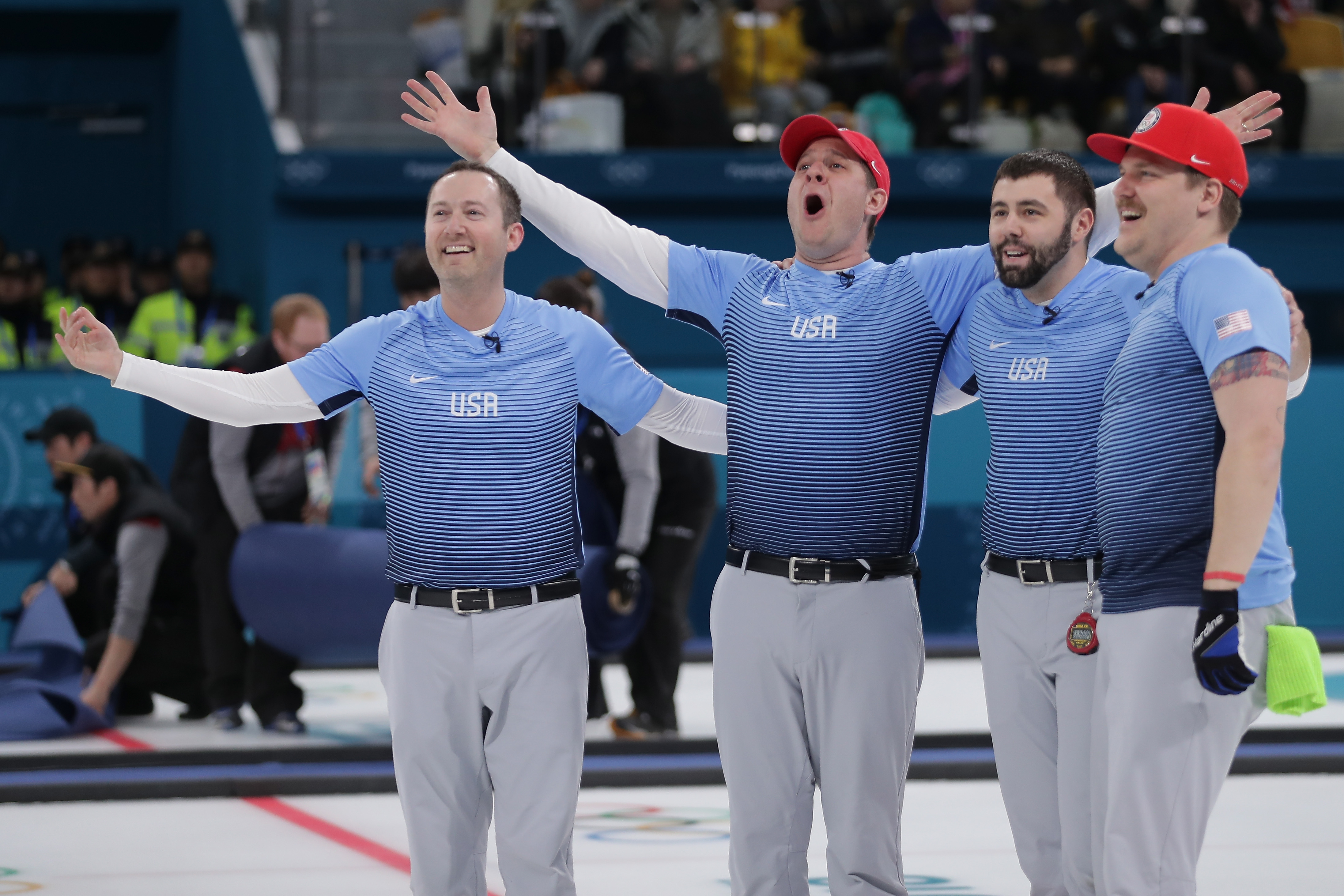 Team United States reacts after defeating Sweden 10-7 to win the Curling Men's Gold Medal game on day fifteen of the PyeongChang 2018 Winter Olympic Games at Gangneung Curling Centre on February 24, 2018 in Gangneung, South Korea