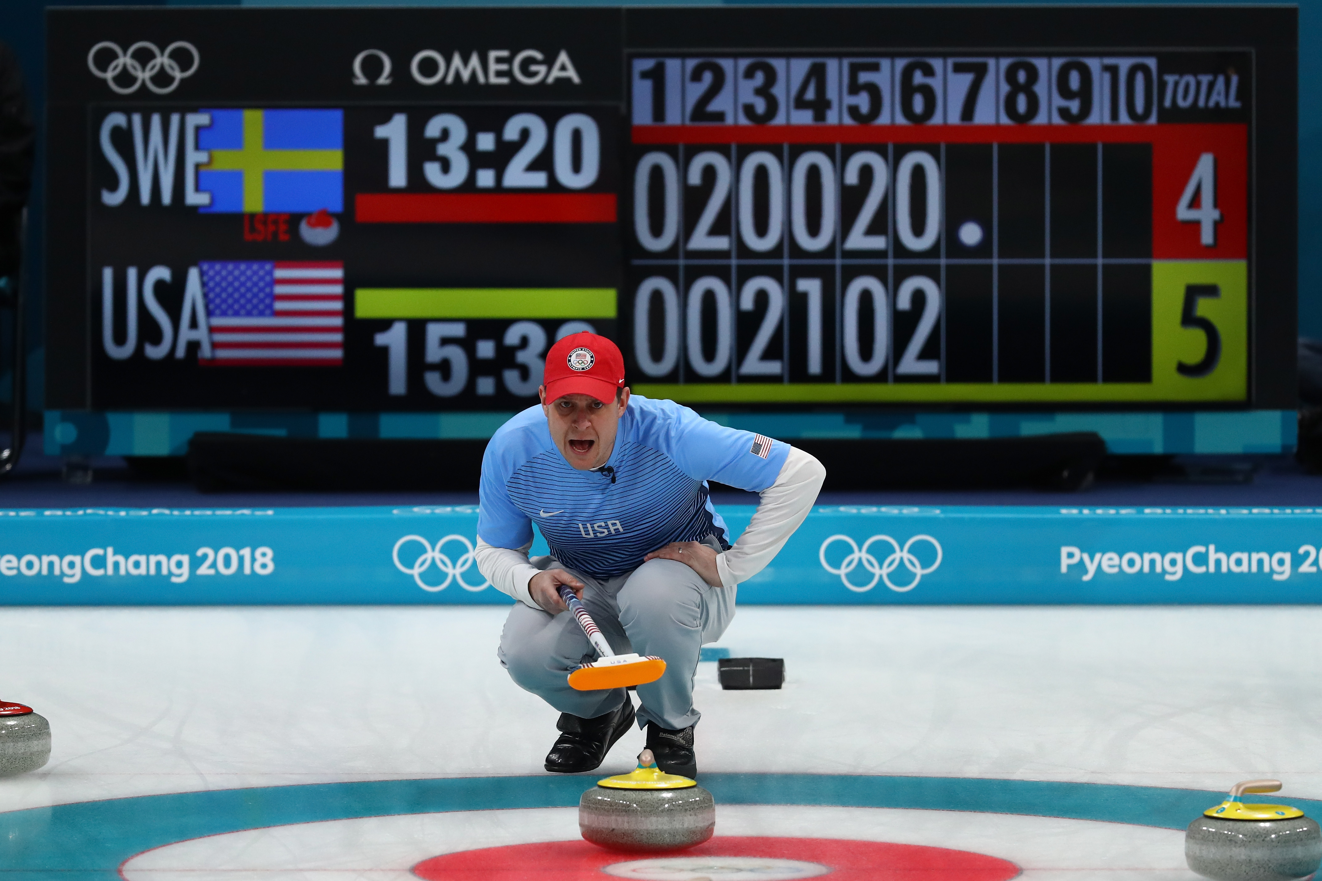 John Shuster of the United States lines up a shot against Sweden during the Curling Men's Gold Medal game on day fifteen of the PyeongChang 2018 Winter Olympic Games at Gangneung Curling Centre on February 24, 2018 in Gangneung, South Korea