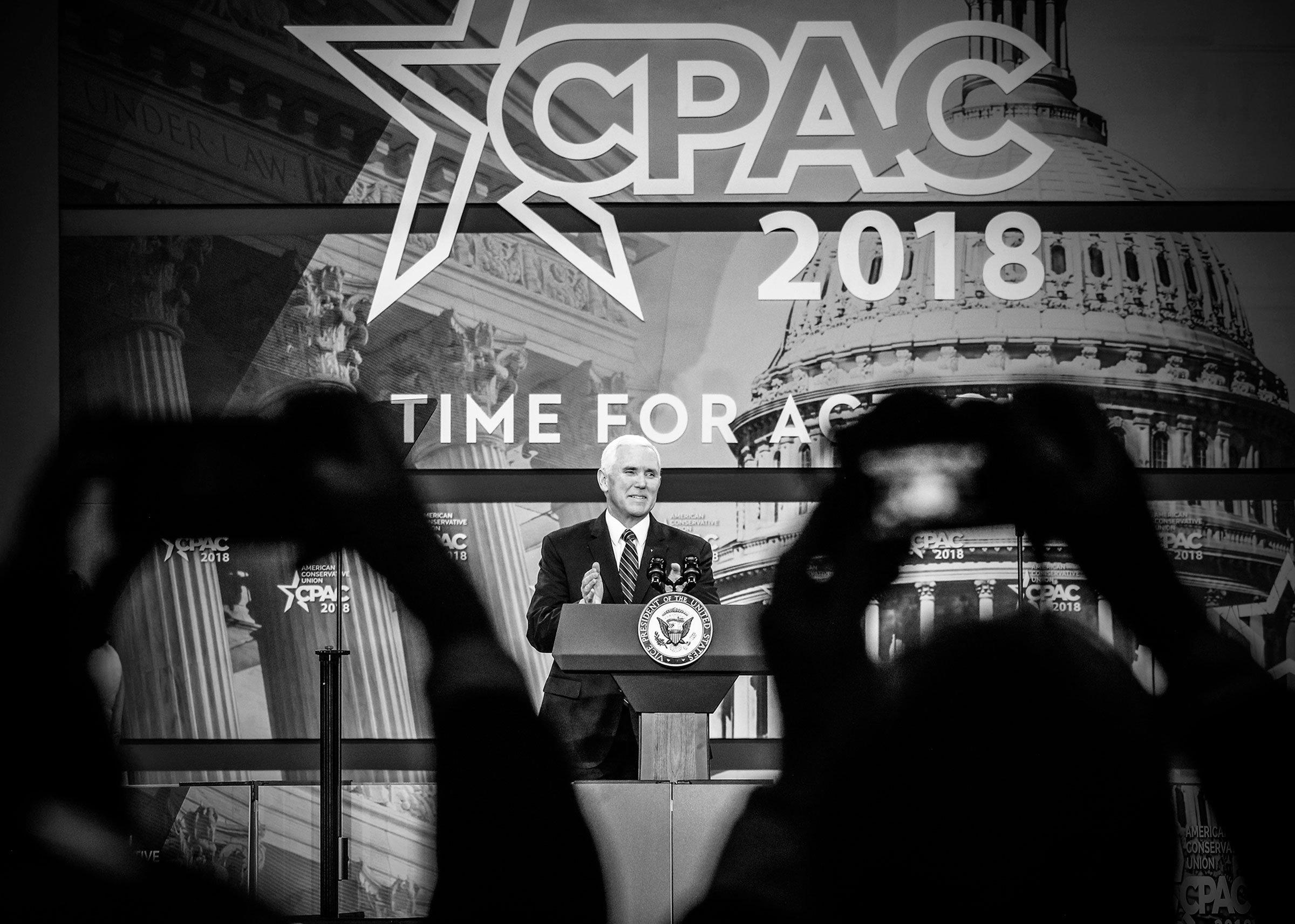 Vice President Mike Pence speaks at the Conservative Political Action Conference (CPAC) in Maryland, February 24, 2018.