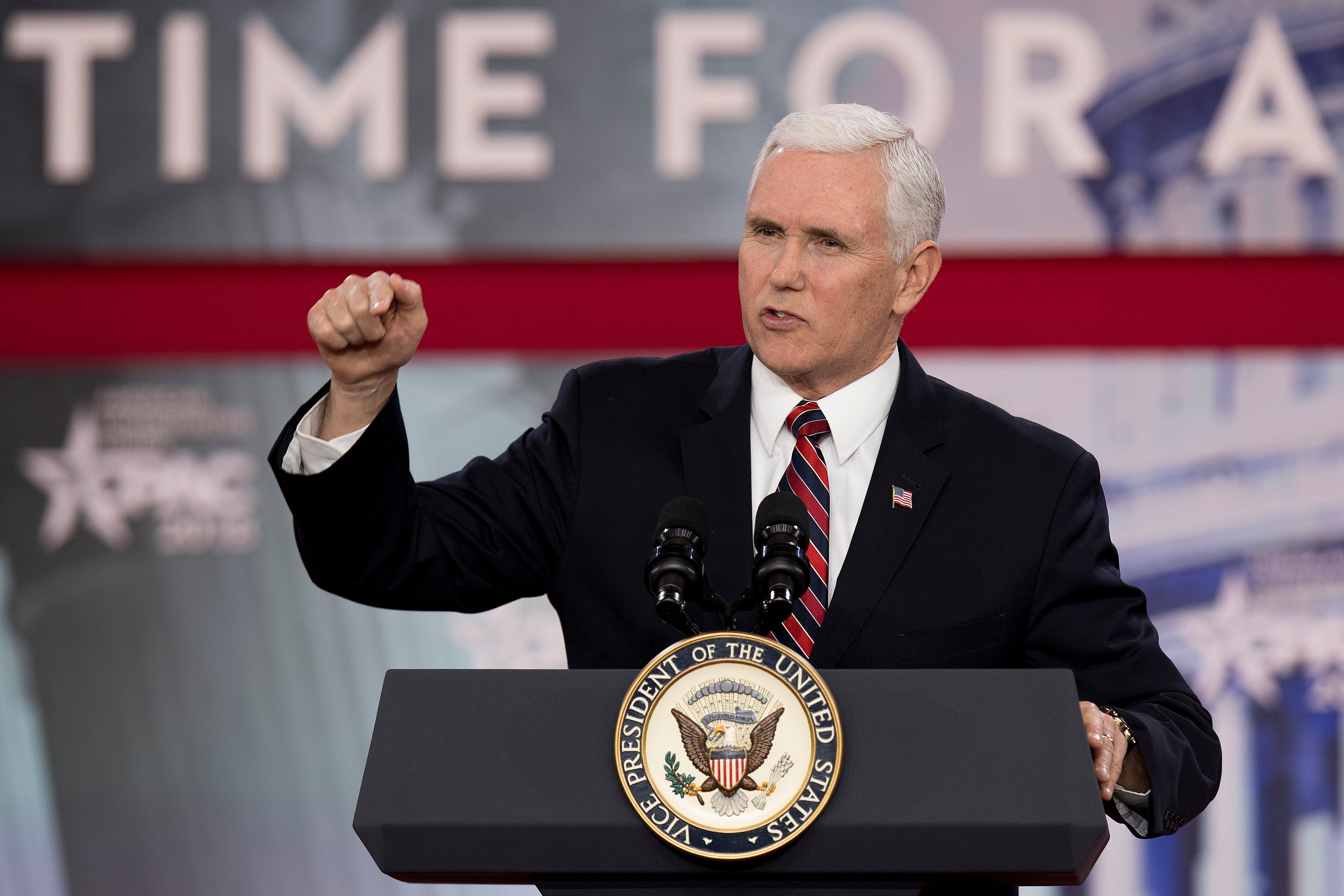 Vice President Mike Pence speaks during the 2018 Conservative Political Action Conference at National Harbor in Oxen Hill, Maryland on February 22, 2018