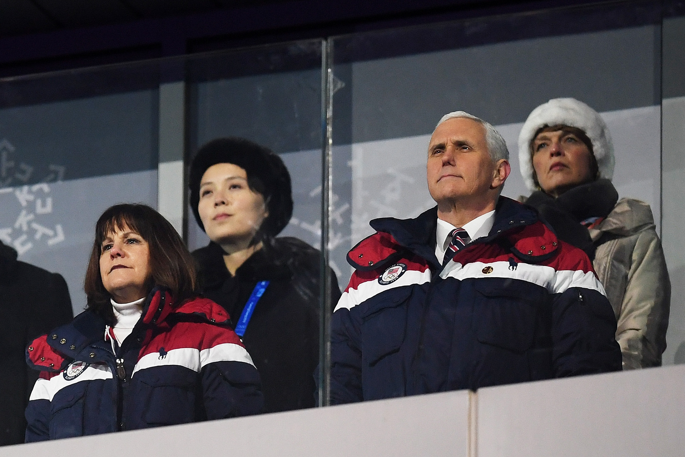 Vice President Mike Pence and his wife Karen watch on during the Opening Ceremony of the PyeongChang 2018 Winter Olympic Games. Behind pence sits Kim Yo-jong (back left), the sister of North Korean leader Kim Jong-Un, at PyeongChang Olympic Stadium in South Korea on Feb. 9, 2018.