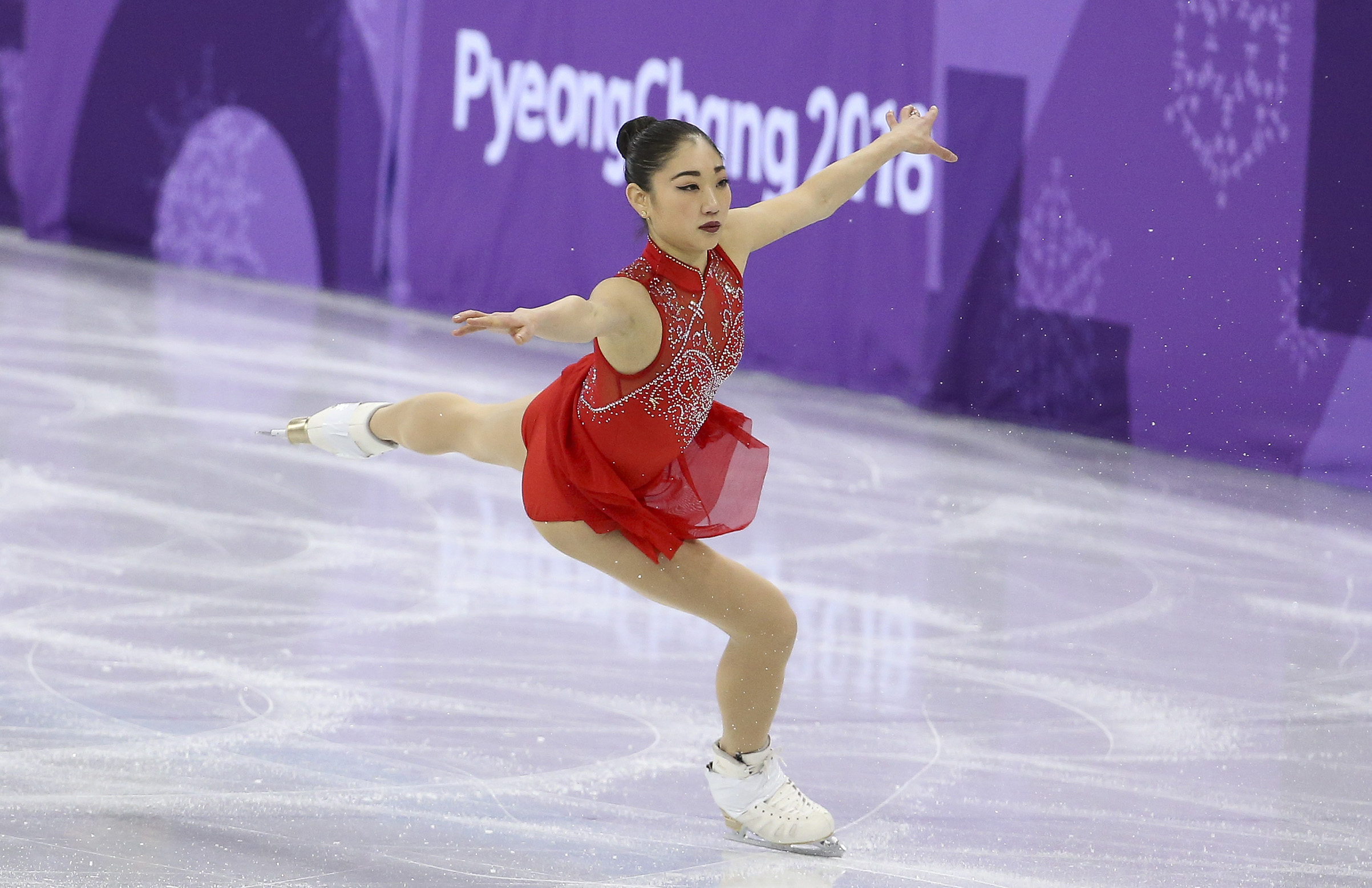 Mirai Nagasu of USA competes in the Ladies Free Skating during the Figure Skating Team Event on day three of the PyeongChang 2018 Winter Olympic Game.
