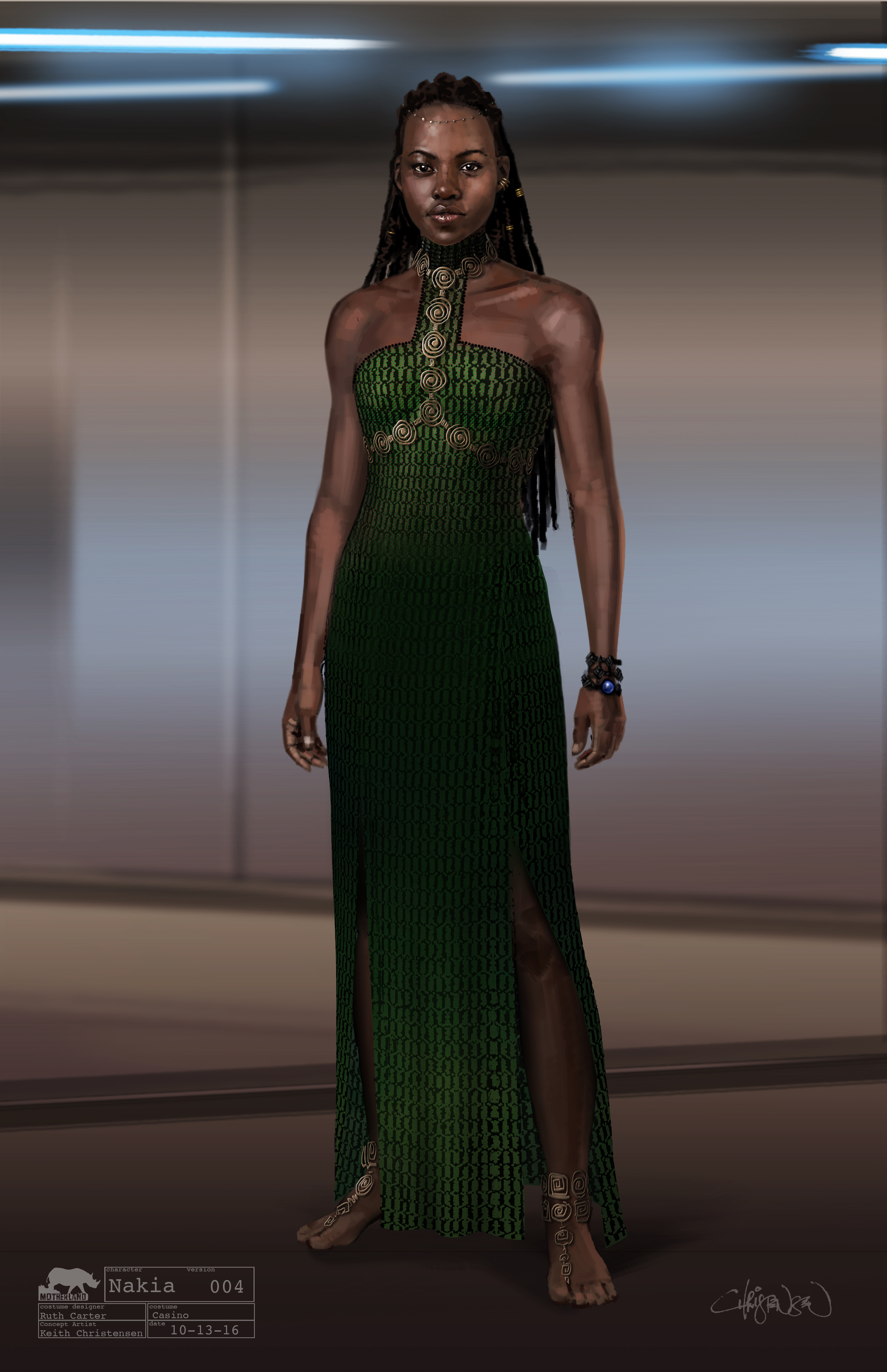 Marvel Studios' BLACK PANTHER                                                              Nakia Conceptual Character and Costume Design Sketch                                                              Costume Design: Ruth Carter                               Concept Artist: Keith Christensen                                                               ©Marvel Studios 2018
