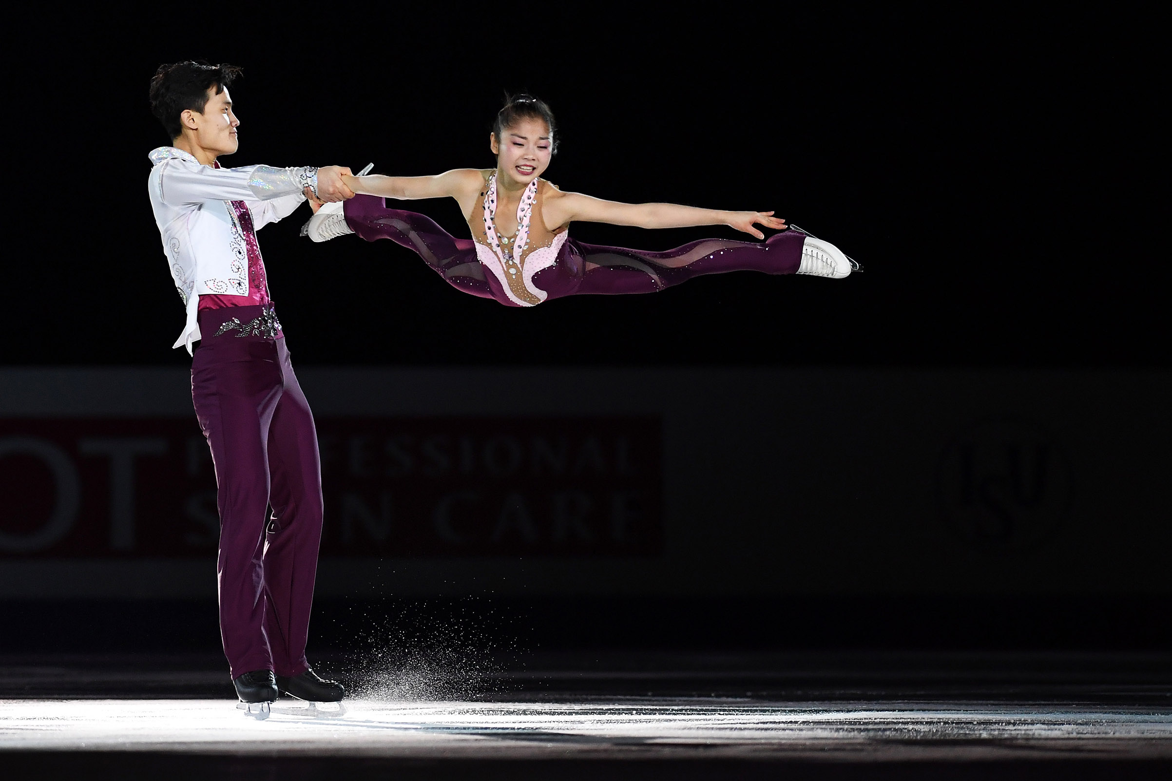 North Korean figure skaters Tae Ok Ryom and Ju Sik Kim of North Korea perform during the Four Continents Figure Skating Championships at Taipei Arena in Taiwan, on Jan. 27, 2018. Atsushi Tomura—ISU/Getty Images