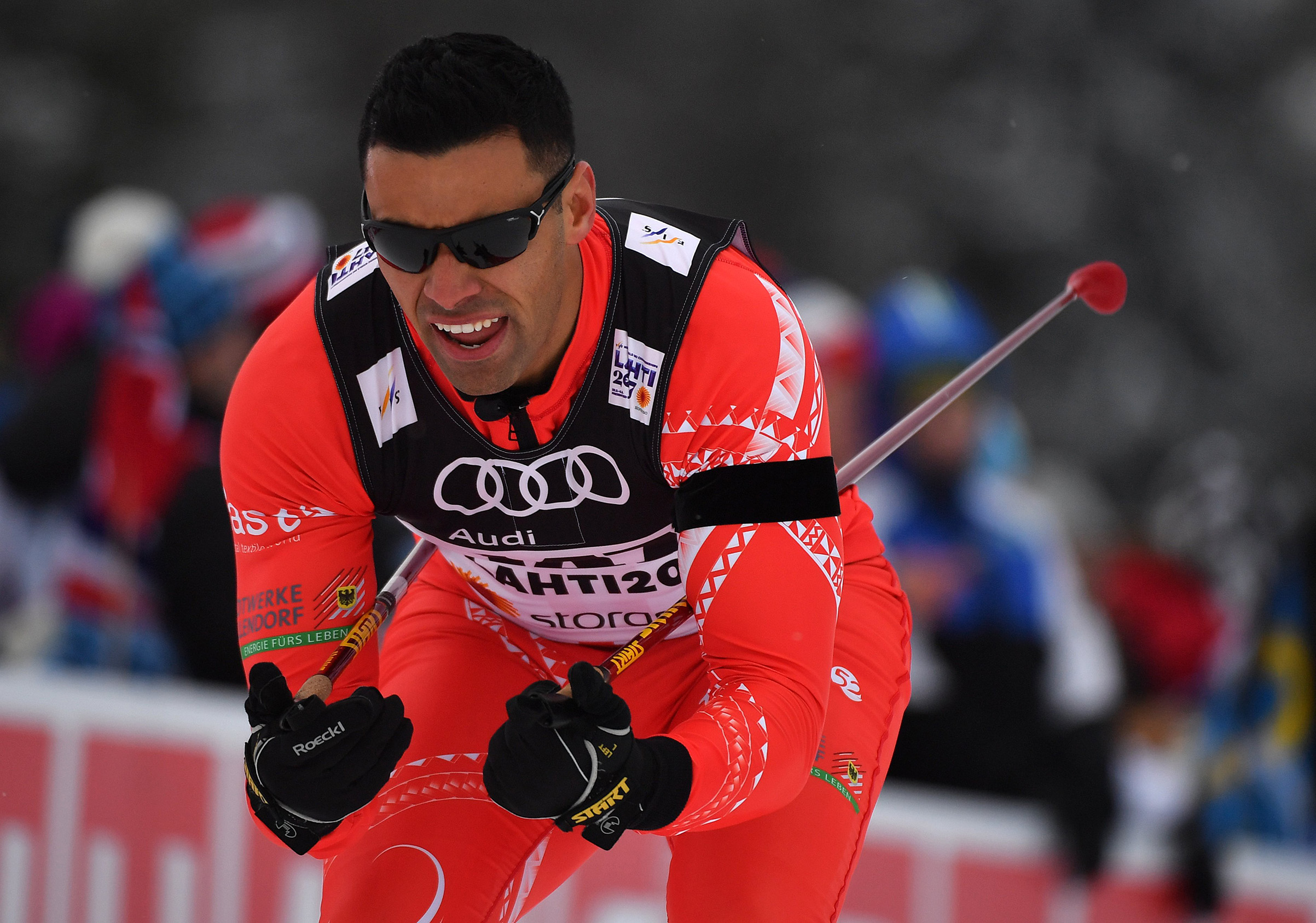 Tonga's Pita Taufatofua competes in the men's cross country sprint qualification at the 2017 Nordic Skiing World Championships in Lahti, Finland. Hendrik Schmidt—Picture Alliance/dpa/AP