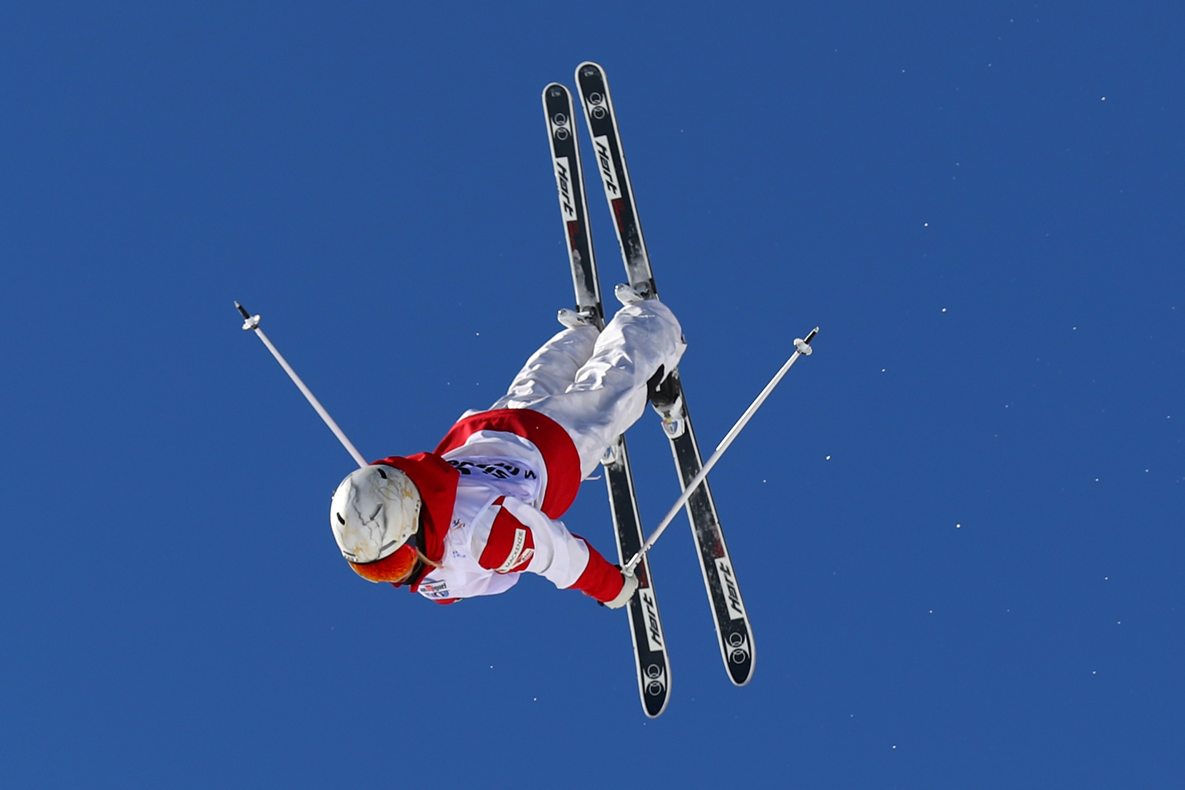 Olympic athlete Justine Dufour-Lapointe of Canada competes in the Women's Moguls qualification at the FIS Freestyle Ski & Snowboard World Championships in Sierra Nevada, Spain, on March 8, 2017. Clive Rose—Getty Images