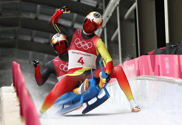 Sascha Benecken and Toni Eggert of Germany celebrate during the doubles luge final at the 2018 Winter Olympics on February 14, 2018 in PyeongChang, South Korea.