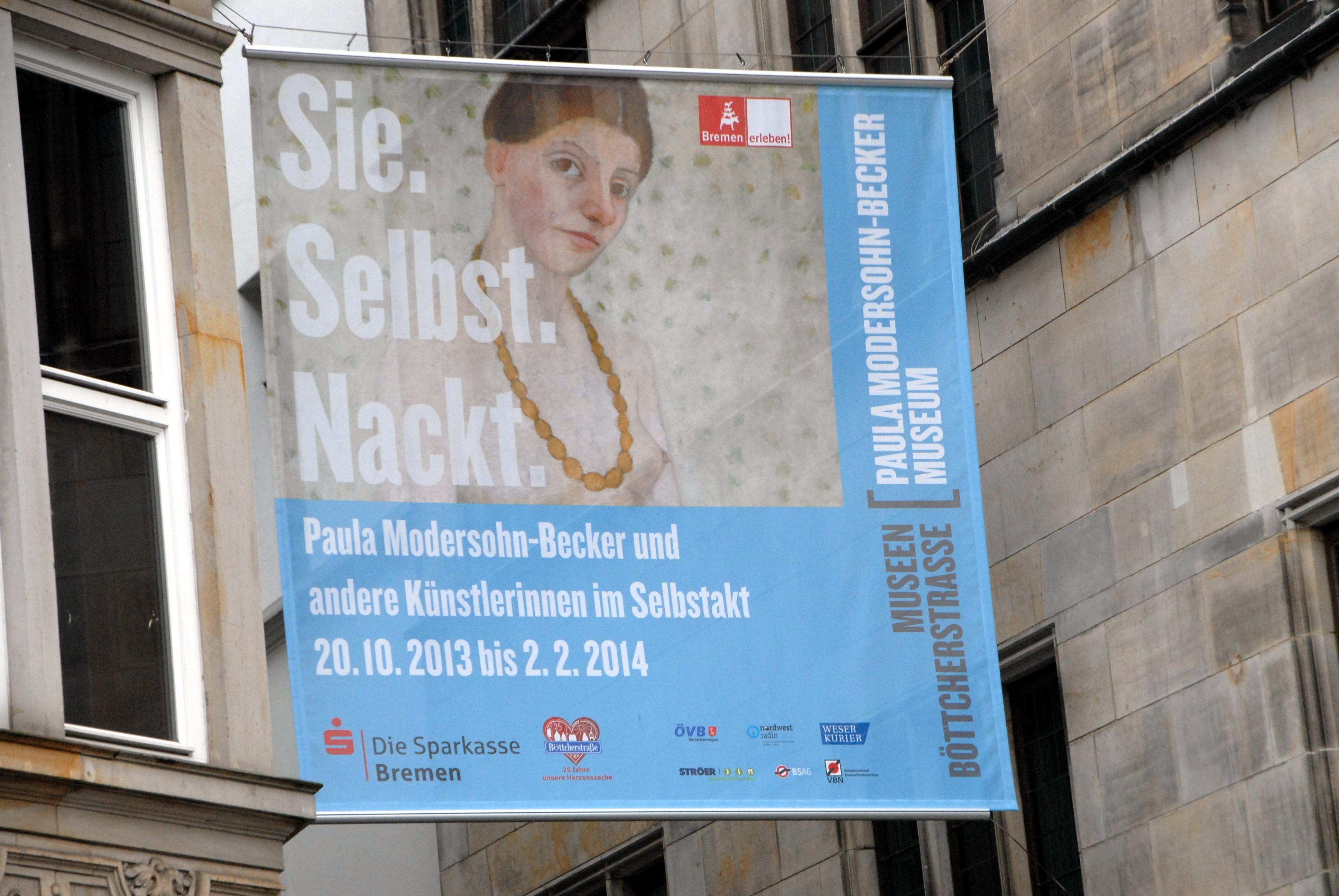 Werbe-Plakat für  Paula Modersohn-Becker-Museum , Marktplatz, Bremen, Deutschland, Europa, Reise, BB, DIG; P.-Nr.: 731/2013, 12.10.2013; (Photo by Peter Bischoff/Getty Images)