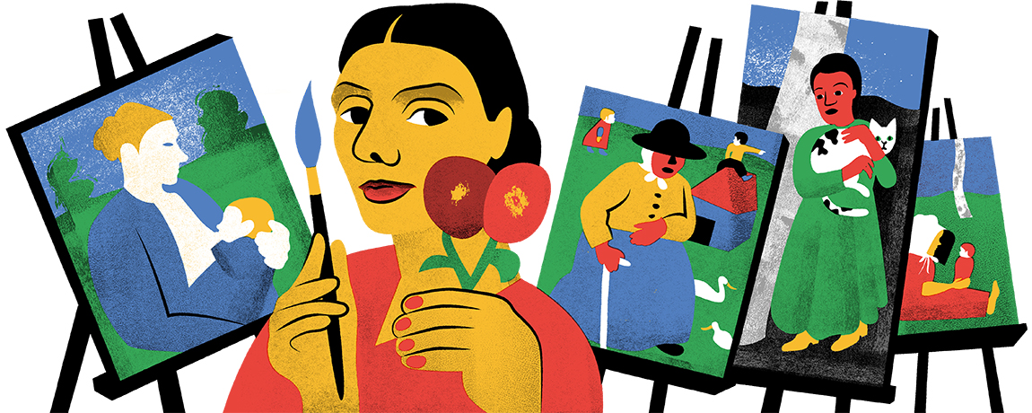 Google's Doodle celebrates artist Paula Modersohn-Becker on what would have been her 142nd birthday on Feb. 8, 2018.