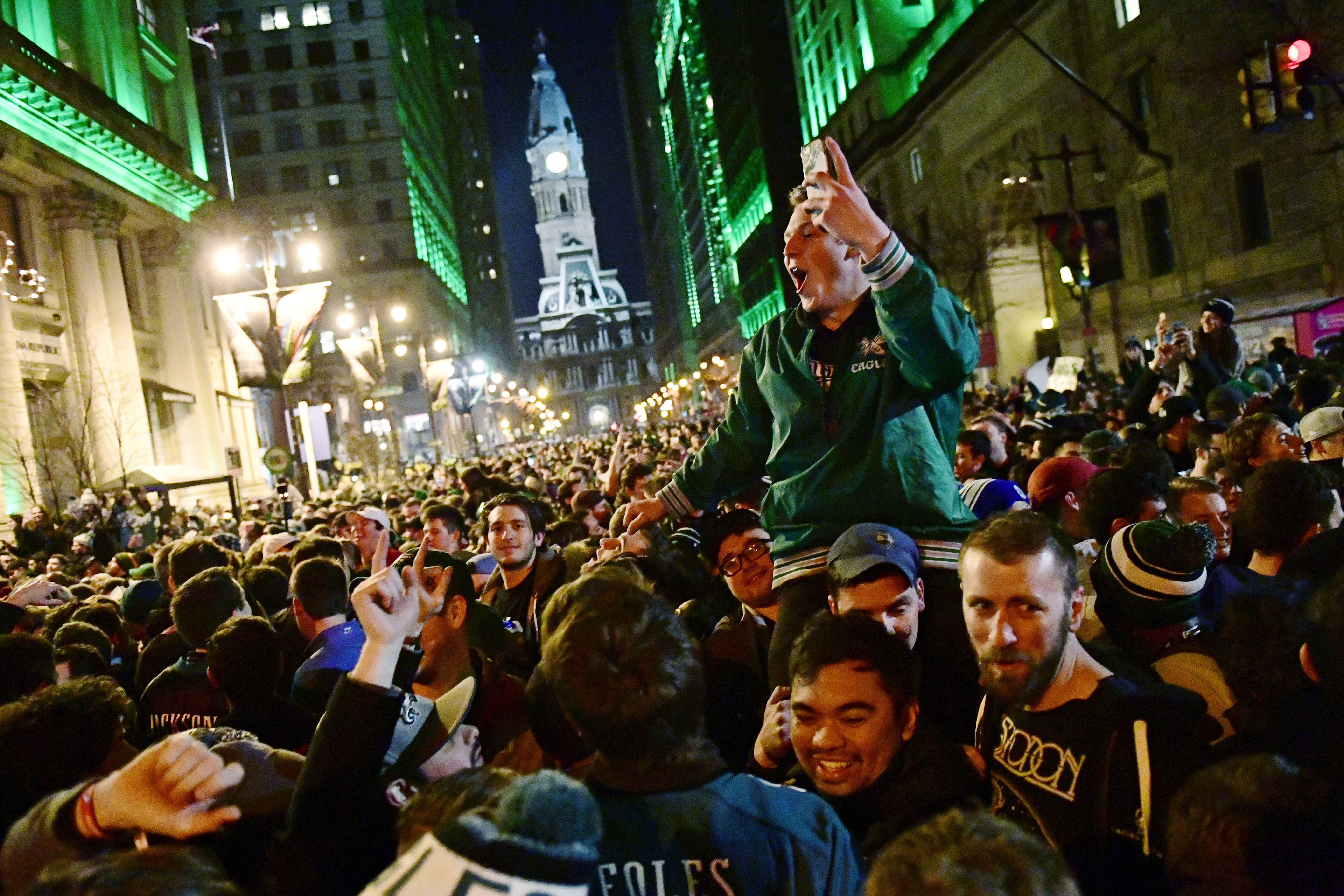 Eagles fans react to Super Bowl LII on Walnut and Broad Streets near City Hall on February 4, 2018 in downtown Philadelphia, Pennsylvania.