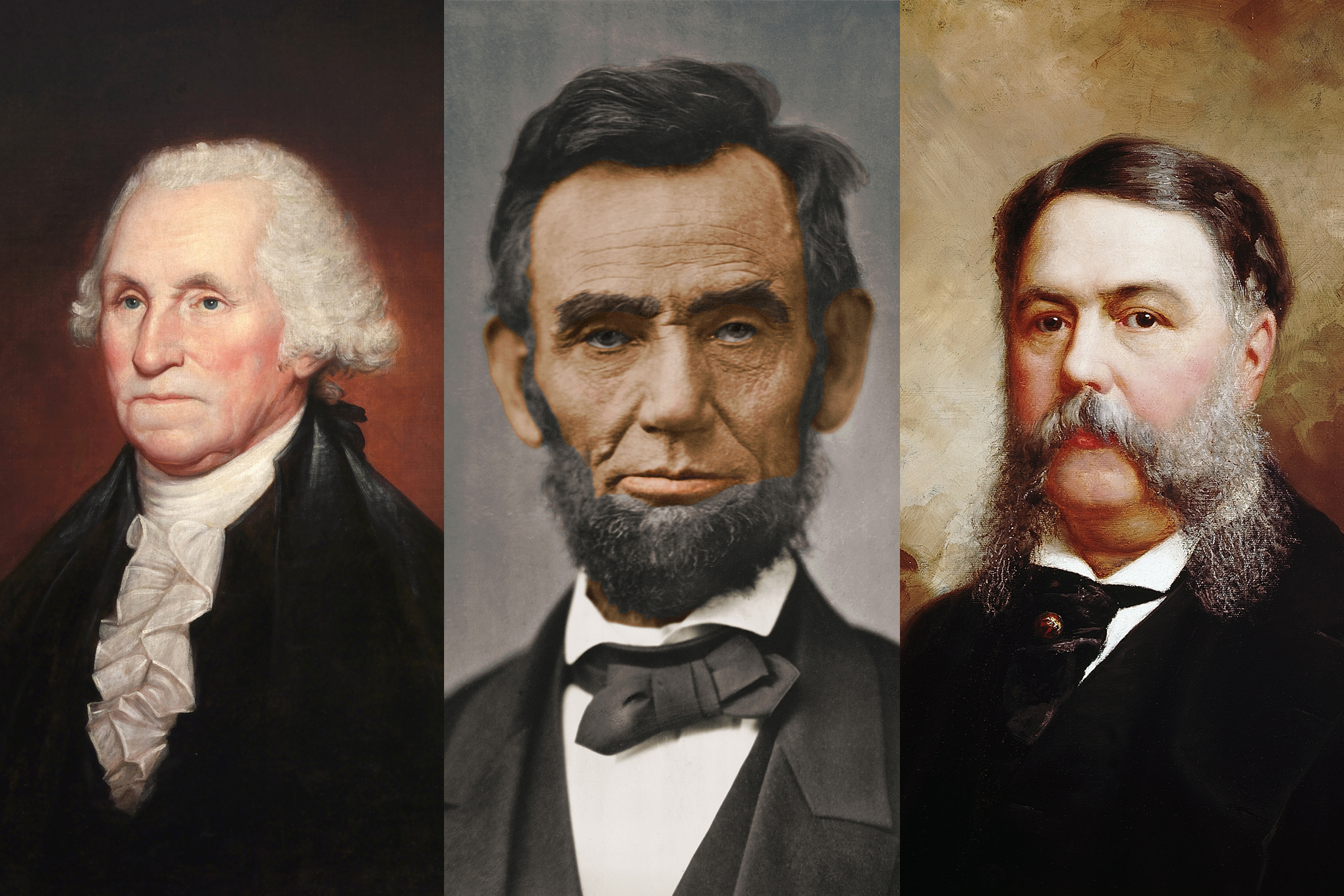 (L-R) Former U.S. Presidents George Washington, Abraham Lincoln, and Chester Arthur