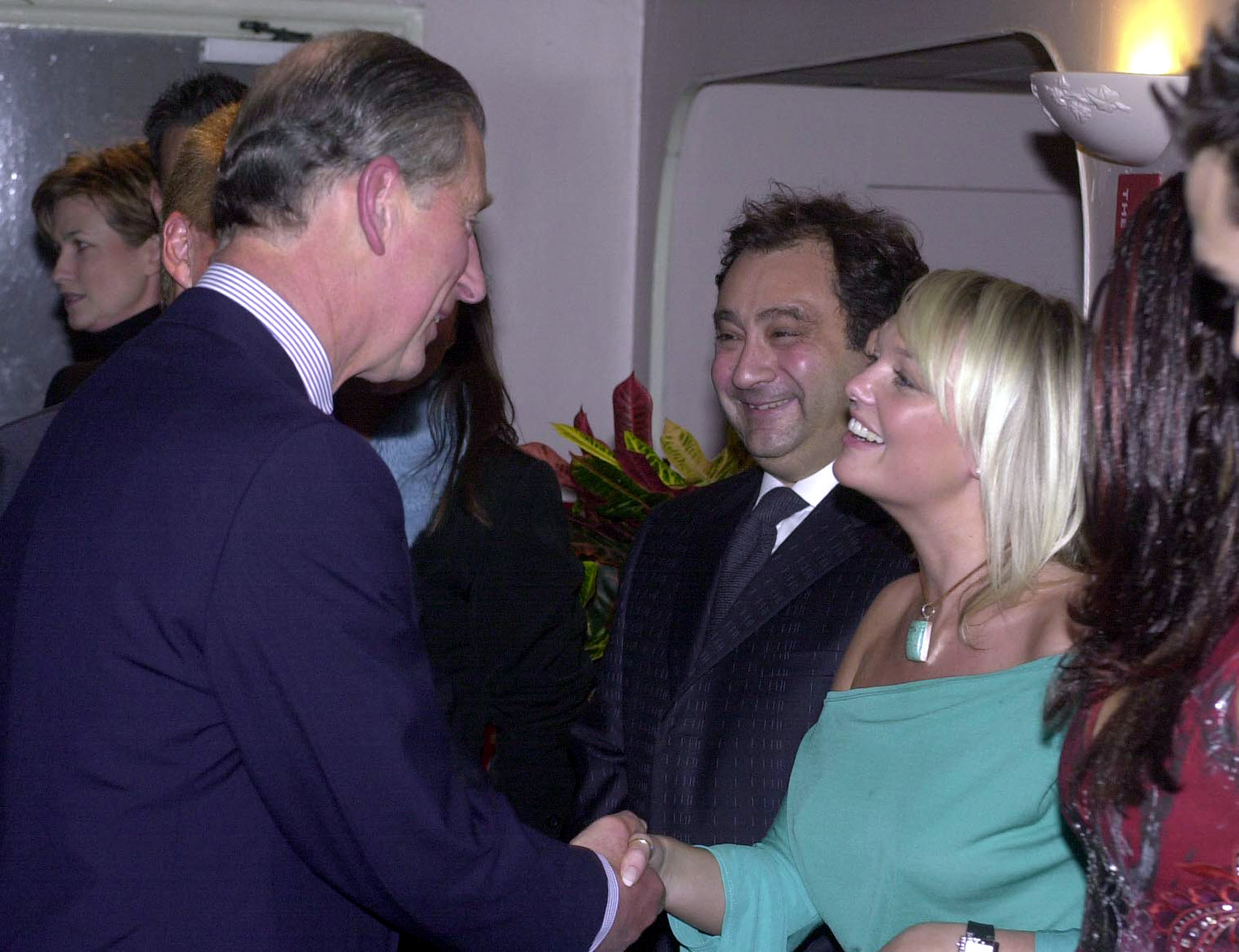 The Prince of Wales, Prince Charles, shakes hands with former 'Spice Girl' Emma Bunton backstage before the Will Young and Gareth Gates pop concert in aid of the Princes's trust at Wembley Arena.