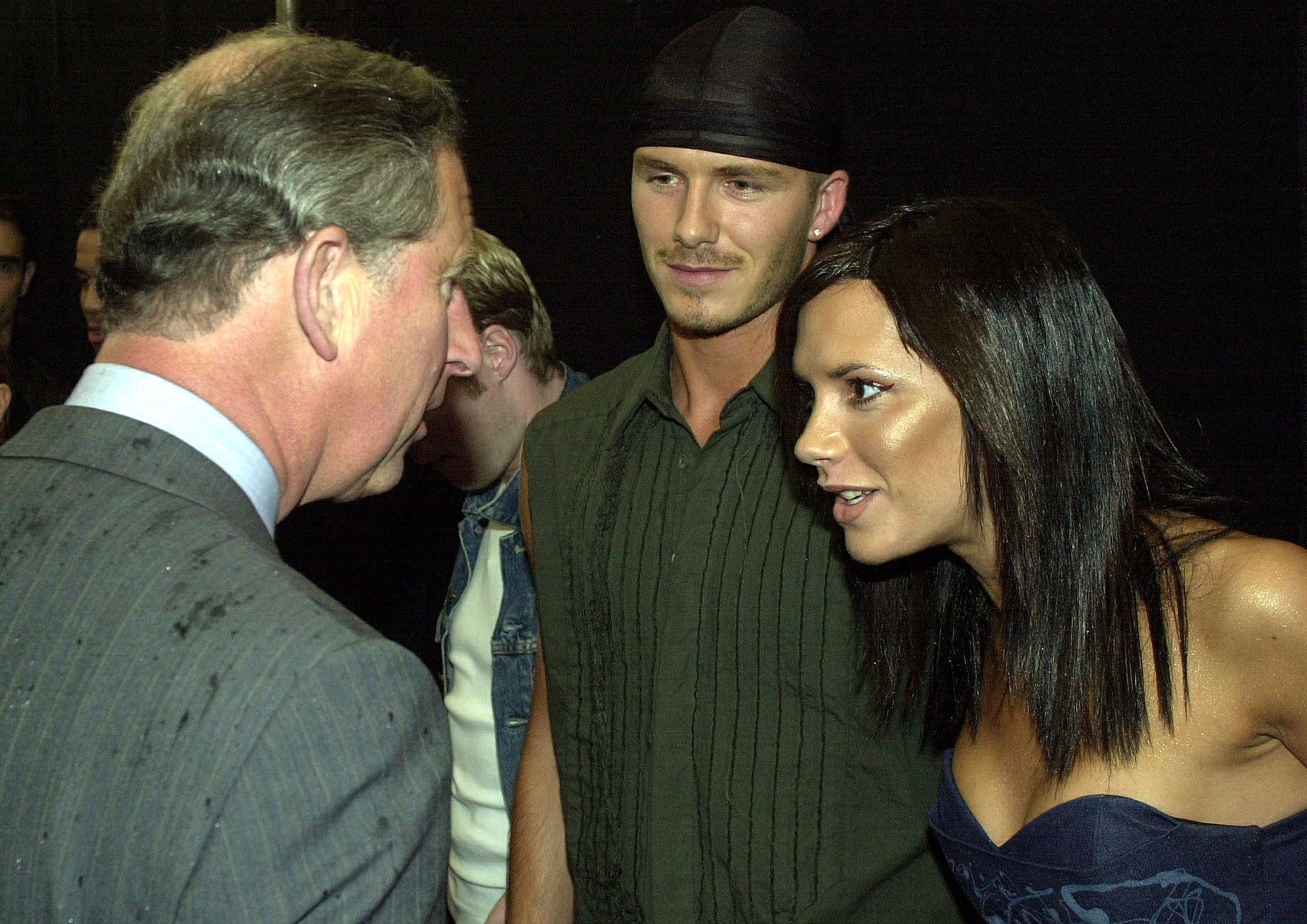 The Prince of Wales, (r) meets pop star Victoria Beckham (Posh Spice) and her footballing husband David at the Princes Trust Capital FM Party in the Park 2000, London. Victoria made her solo debut at the huge outdoor charity show.
