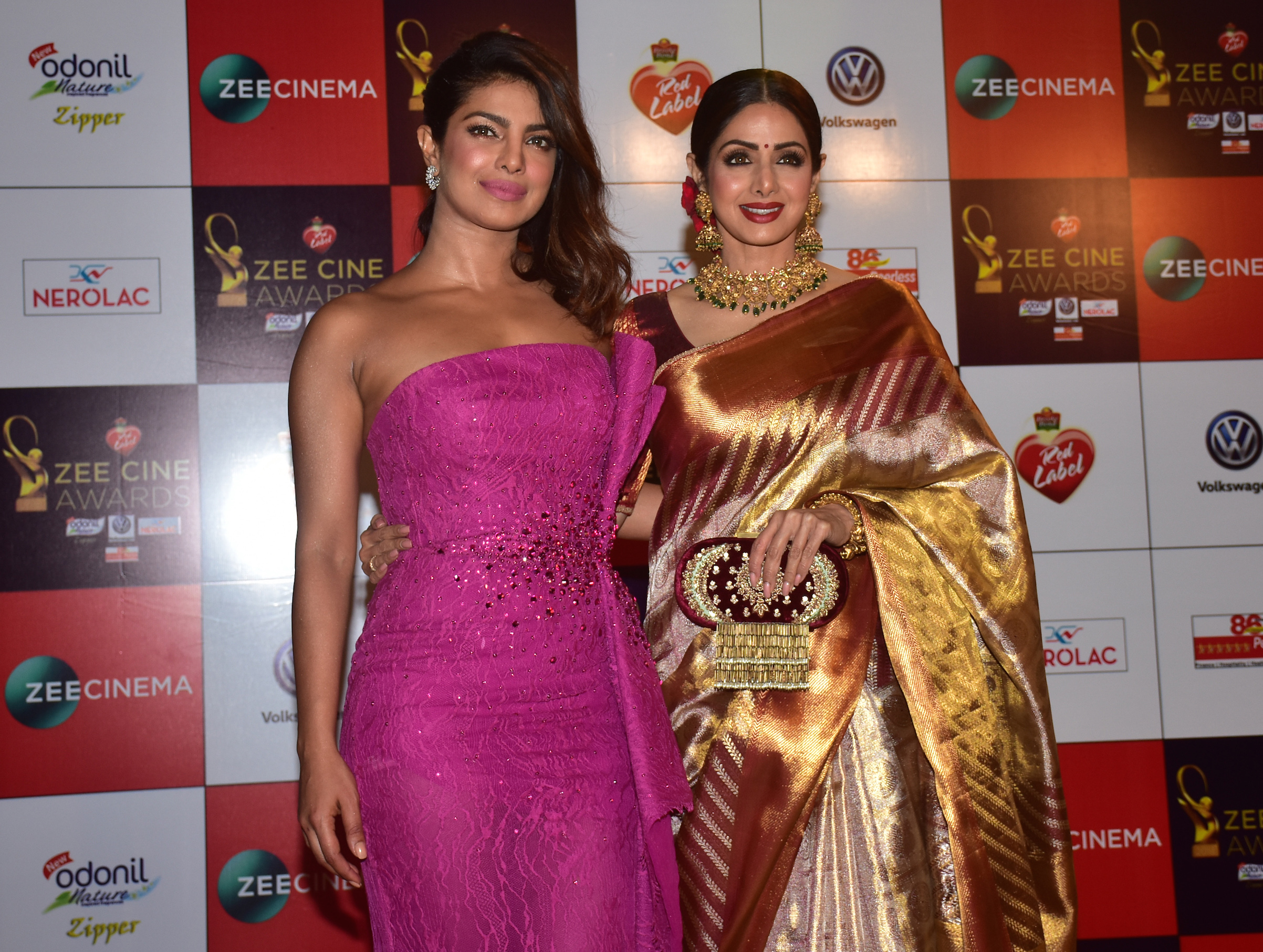 Priyanka Chopra and Sridevi at the Red carpet event of Zee Cine Awards on Dec. 19, 2017, in Mumbai