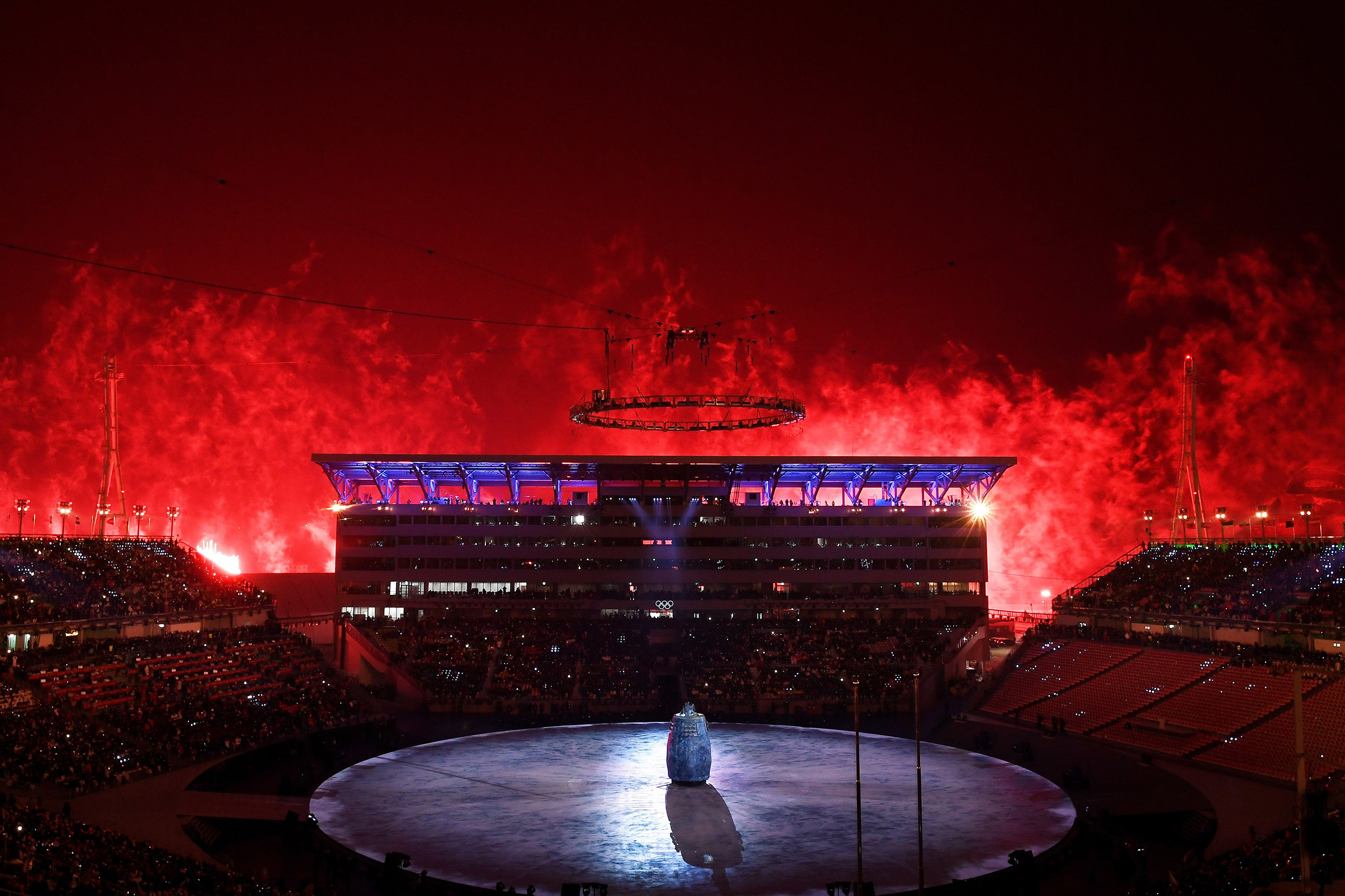 Fireworks erupt during the Opening Ceremony of the PyeongChang 2018 Winter Olympic Games.