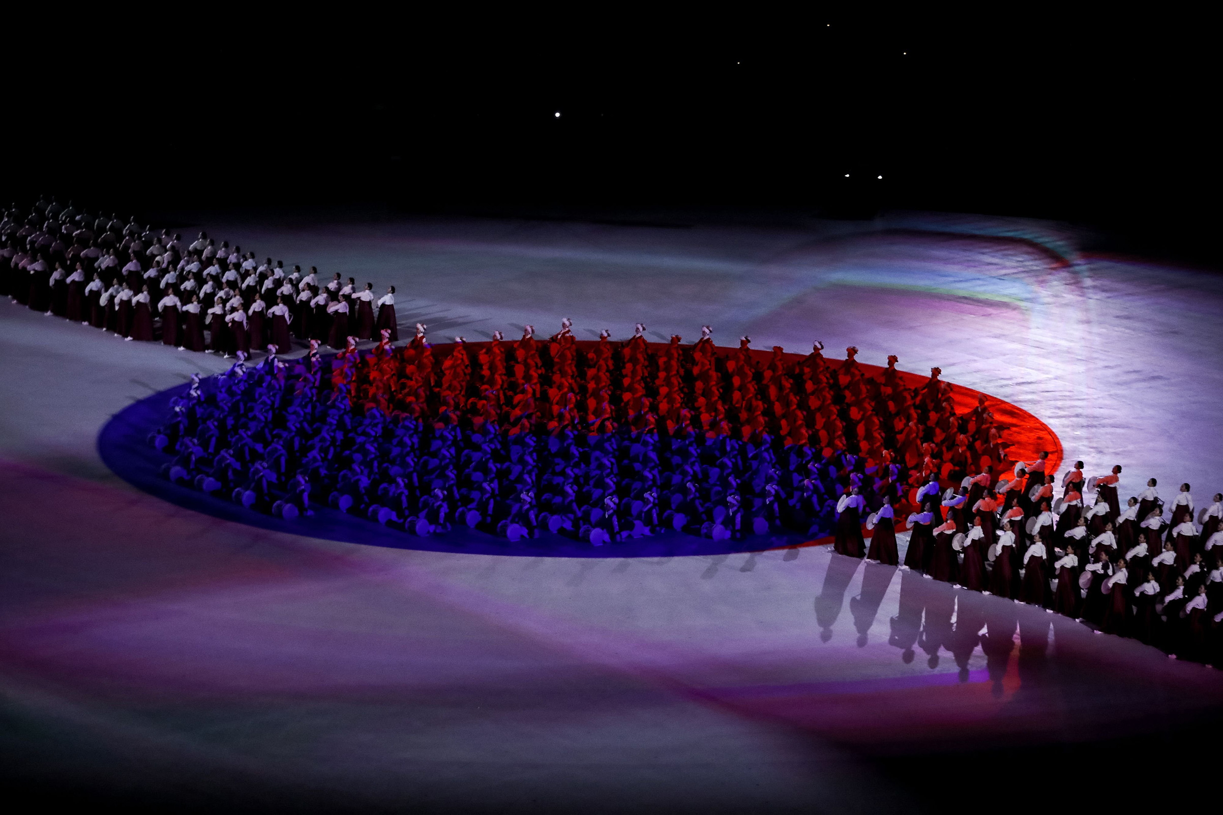 Participants form the South Korean flag during the opening ceremony of the Pyeongchang 2018 Winter Olympic Games.
