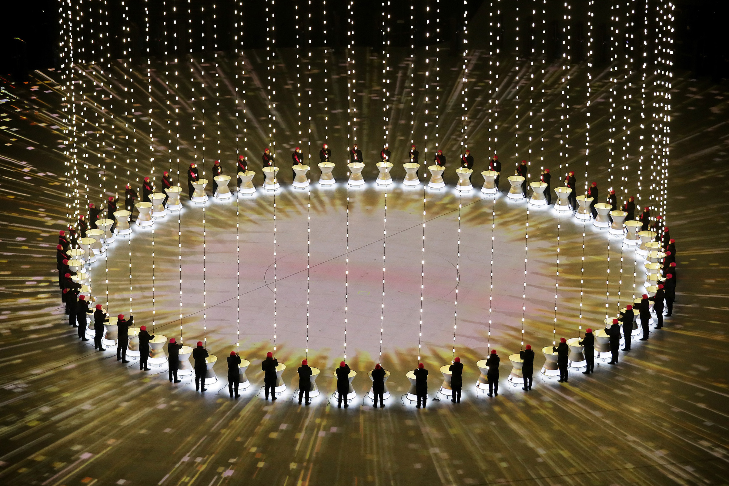 A general view as performers entertain during the Opening Ceremony of the PyeongChang 2018 Winter Olympic Games.