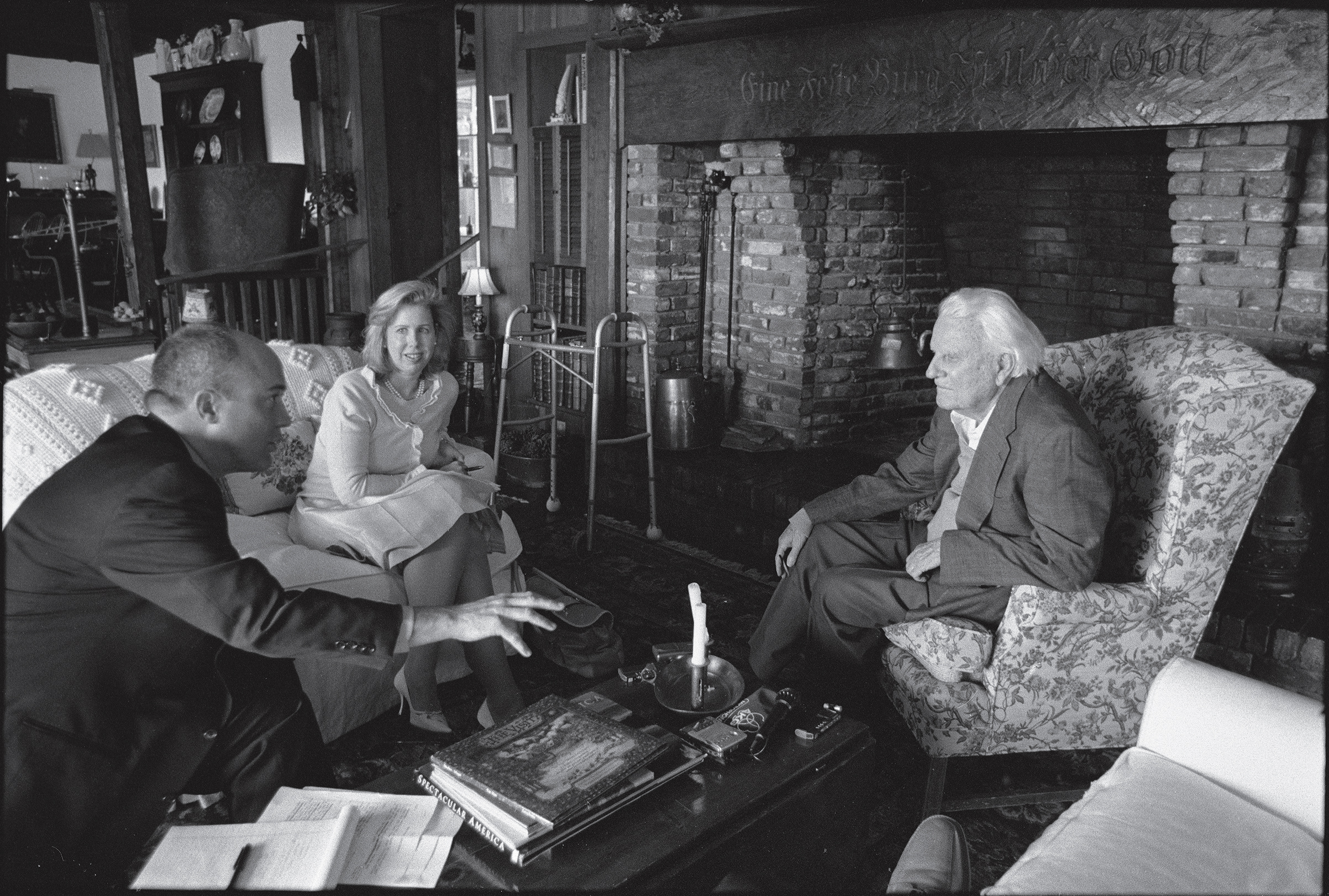 Michael Duffy, Nancy Gibbs and the Rev. Billy Graham at Graham's home in Montreat, N.C., in 2007.