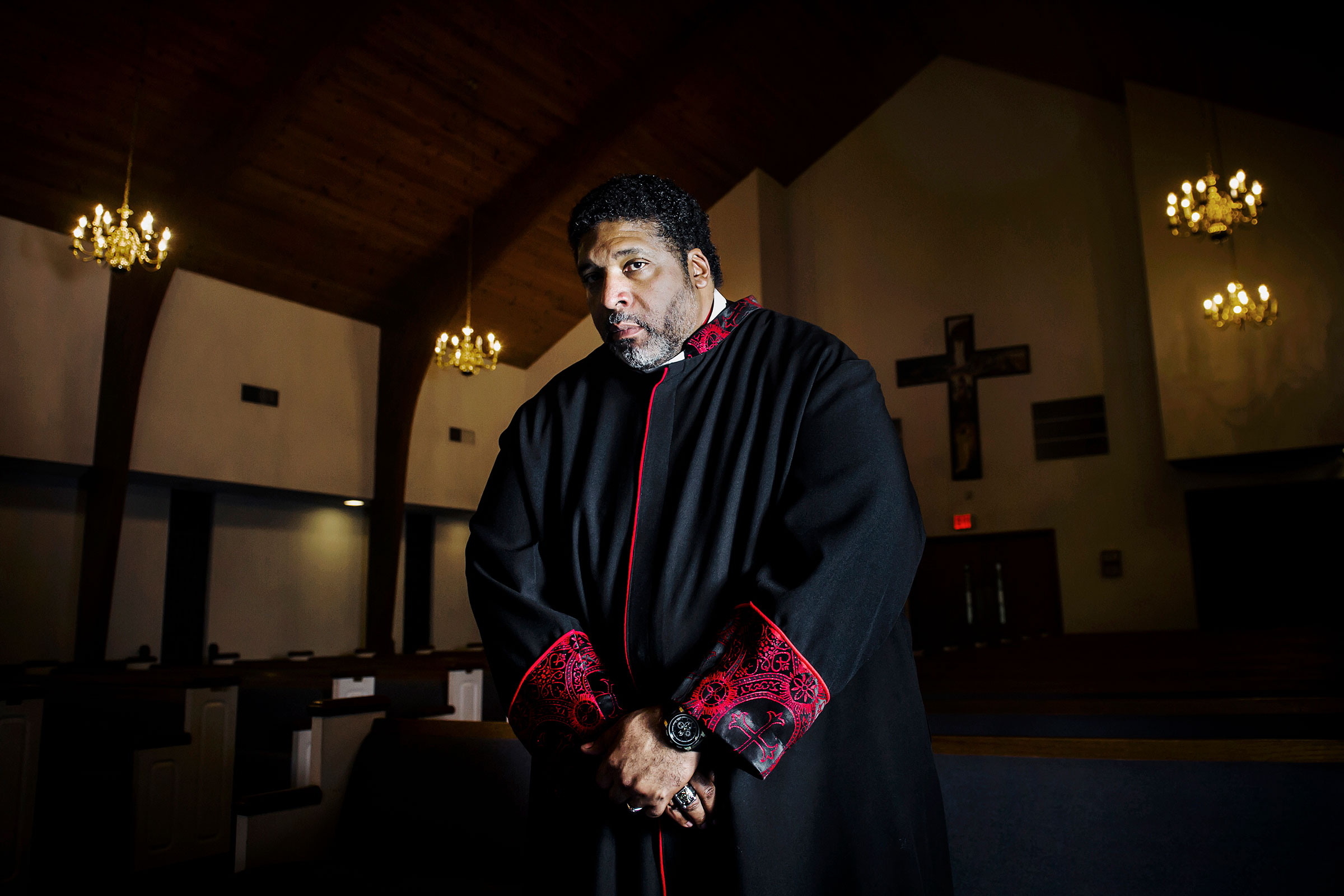 Reverend William J. Barber II at the Greenleaf Christian Church in Goldsboro, NC., 2017.