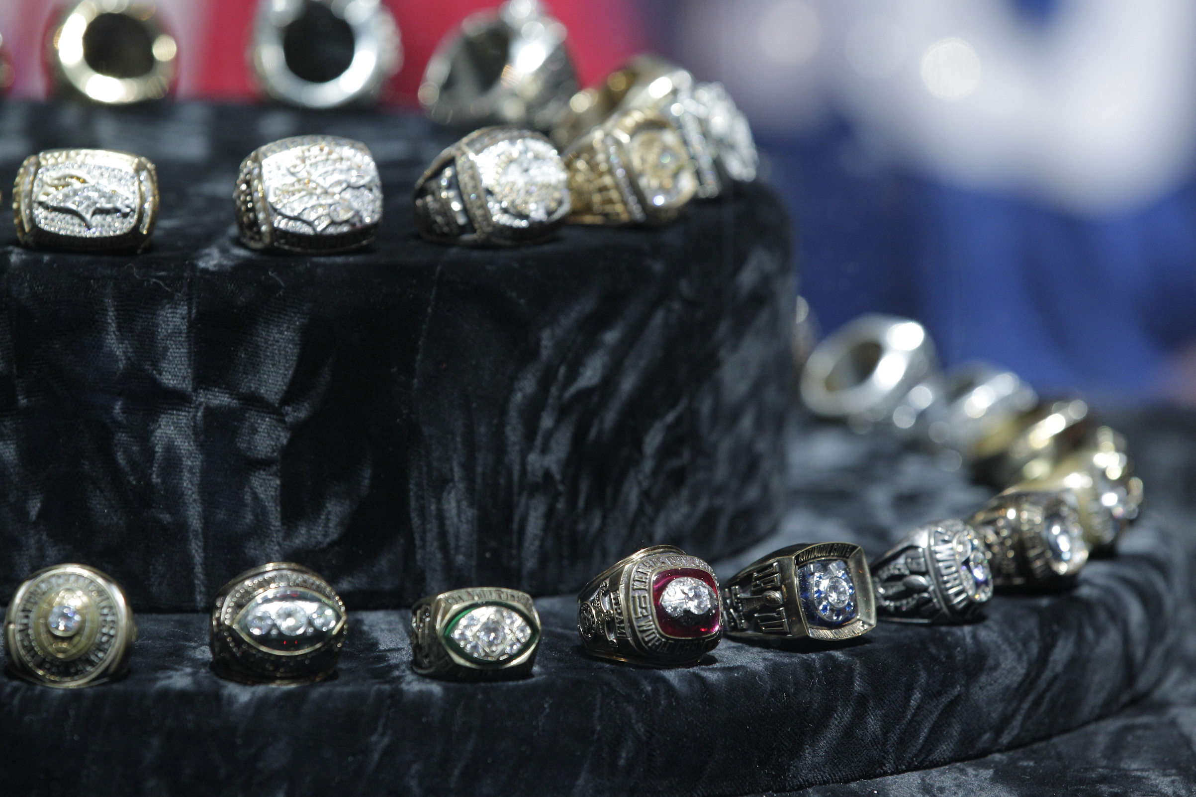 Past Super Bowl rings on display in 2012