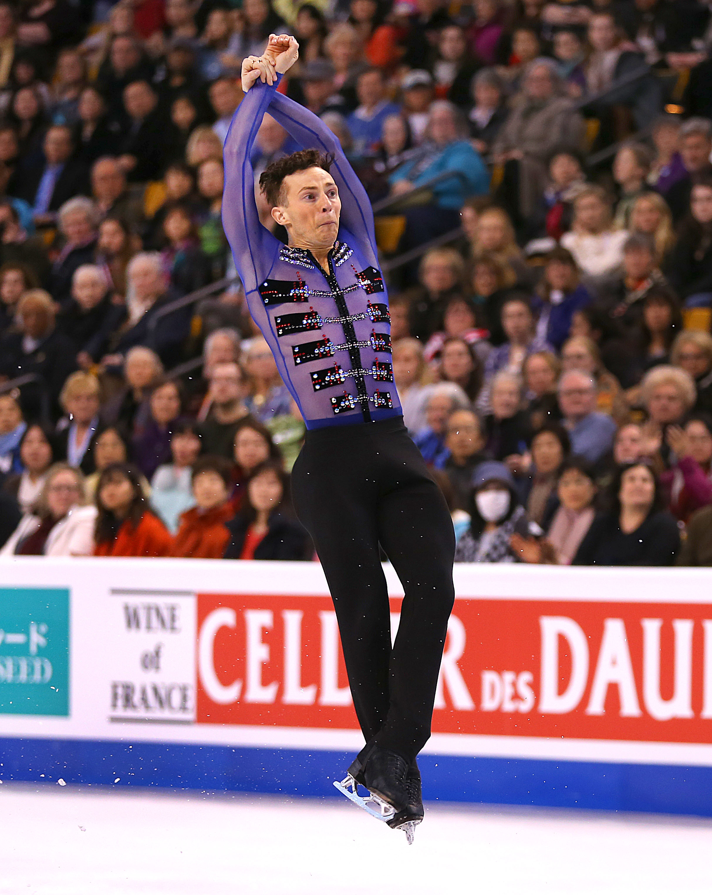 Adam Rippon from the United States jumps during the Mens Free Skate Program competition of the World Figure Skating Championships at TD Garden in Boston on April 1, 2016.