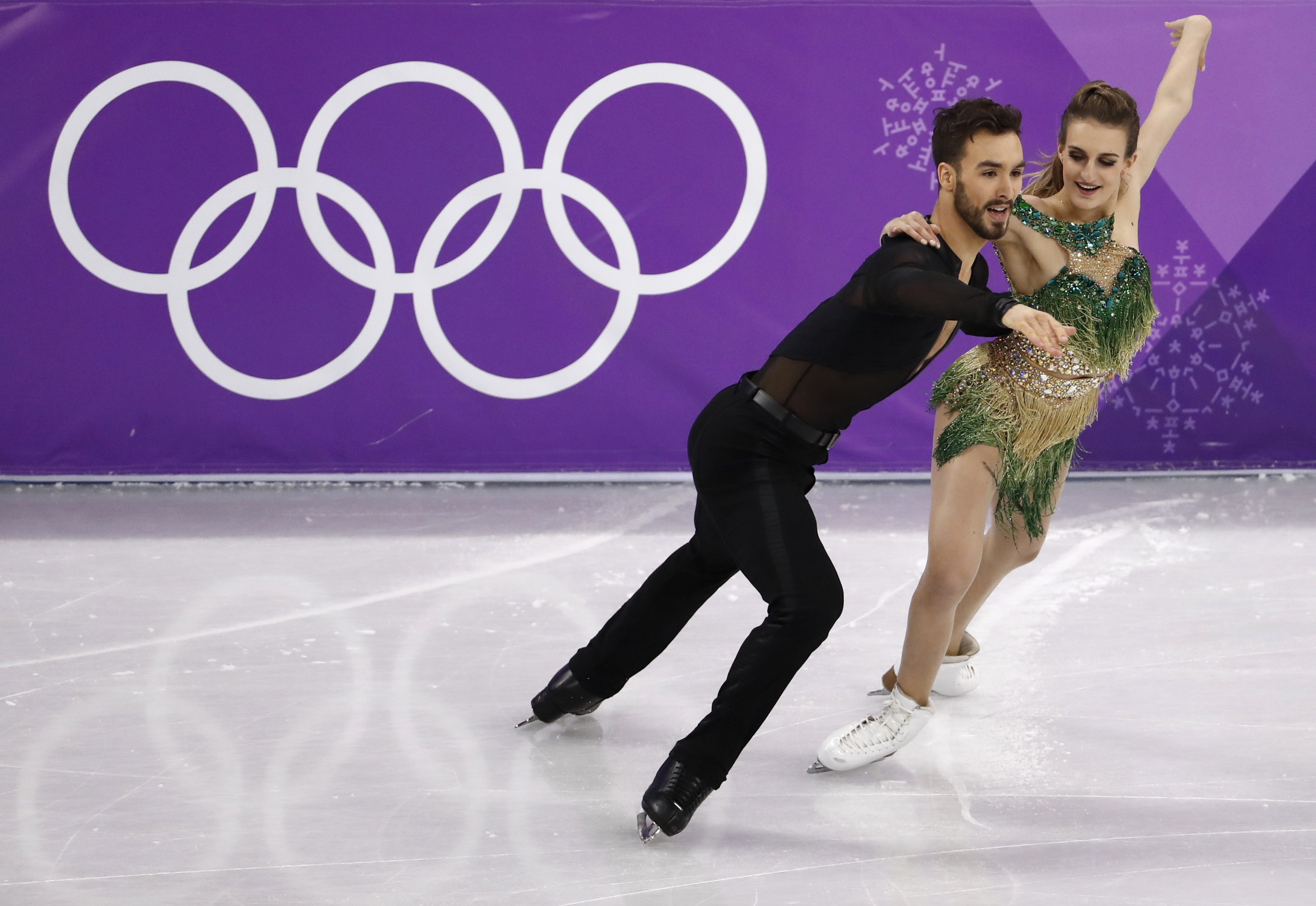 Guillaume Cizeron and Gabriella Papadakis of France perform in the                    Pyeongchang 2018 Winter Olympics at the Gangneung Ice Arena in Gangneung, South Korea on February 19, 2018.