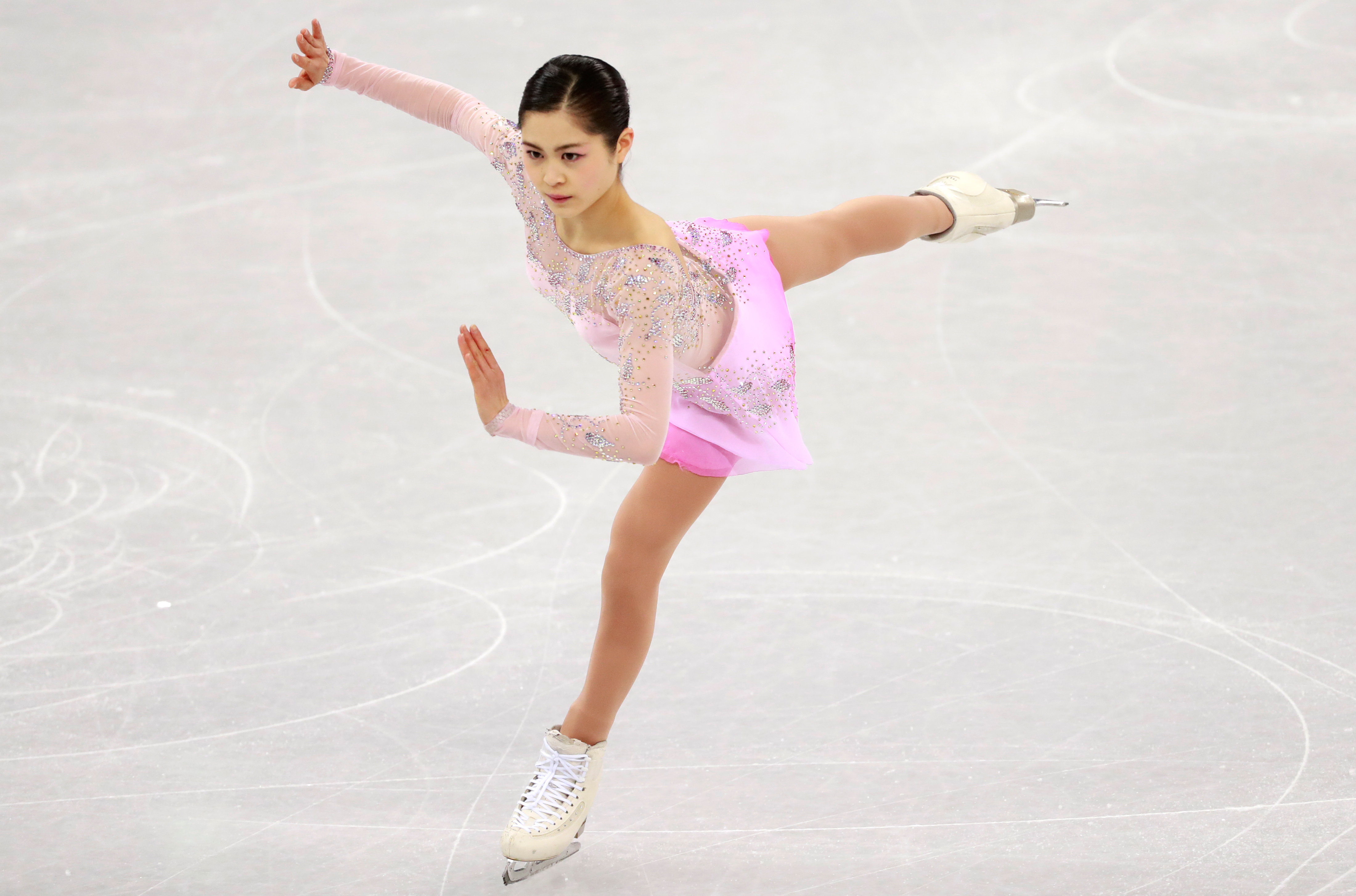 Satoko Miyahara of Japan in action during the Women Single Short Program of the Figure Skating competition at the Gangneung Ice Arena during the PyeongChang 2018 Olympic Games, South Korea, 21 February 2018.                       Figure Skating - PyeongChang 2018 Olympic Games, Gangneung, Korea - 21 Feb 2018