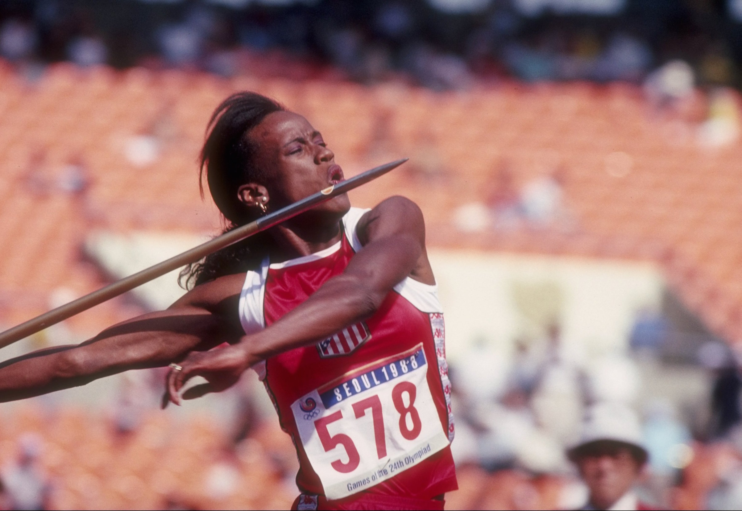 Jackie Joyner-Kersee of the United States is ready to throw the javelin during the Olympic Games in Seoul, South Korea, in 1988. Tony Duffy—Getty Images