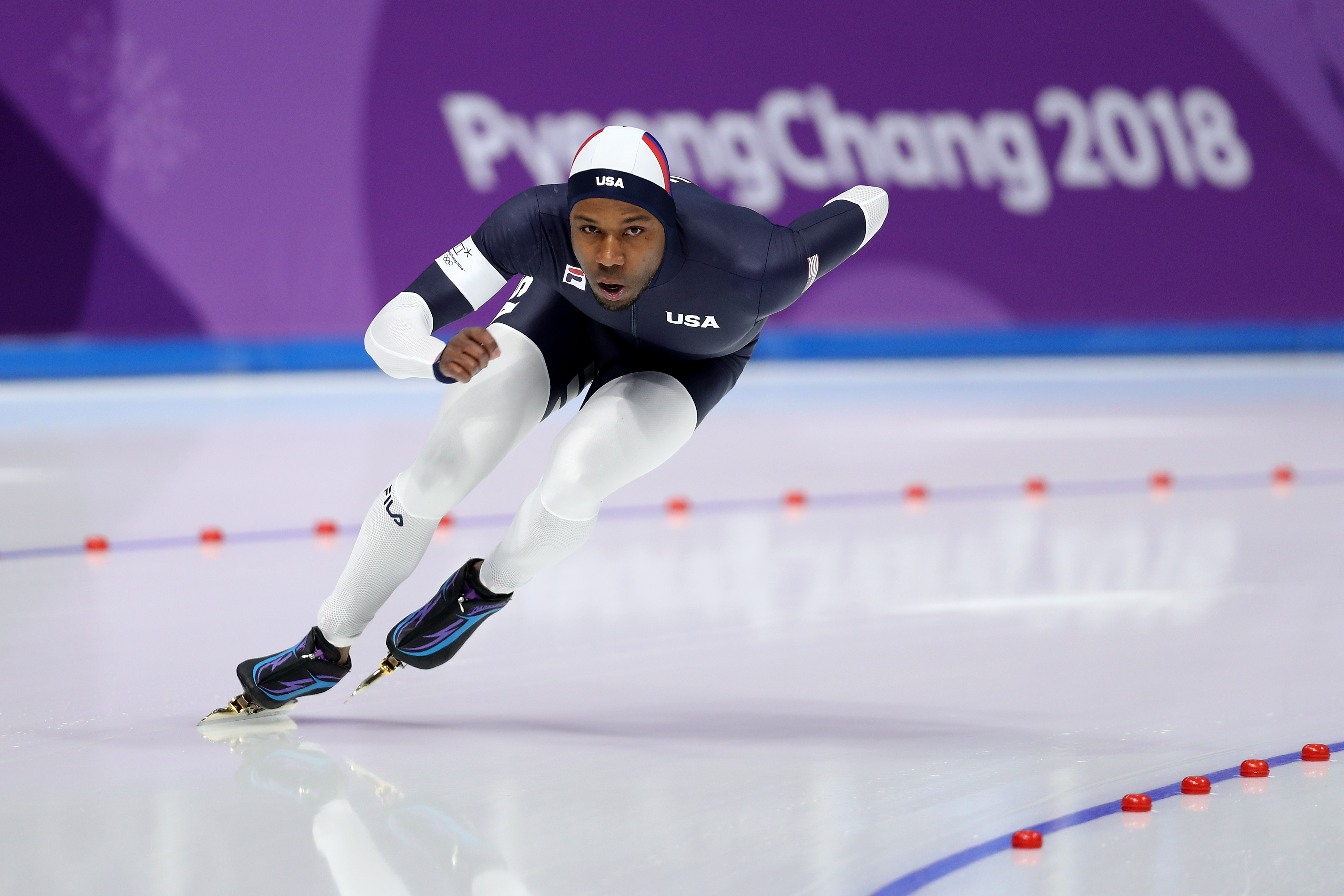 Shani Davis of the United States competes during the Men's 1500m Speed Skating on day four of the PyeongChang 2018 Winter Olympic Games at Gangneung Oval on February 13, 2018 in Gangneung, South Korea.