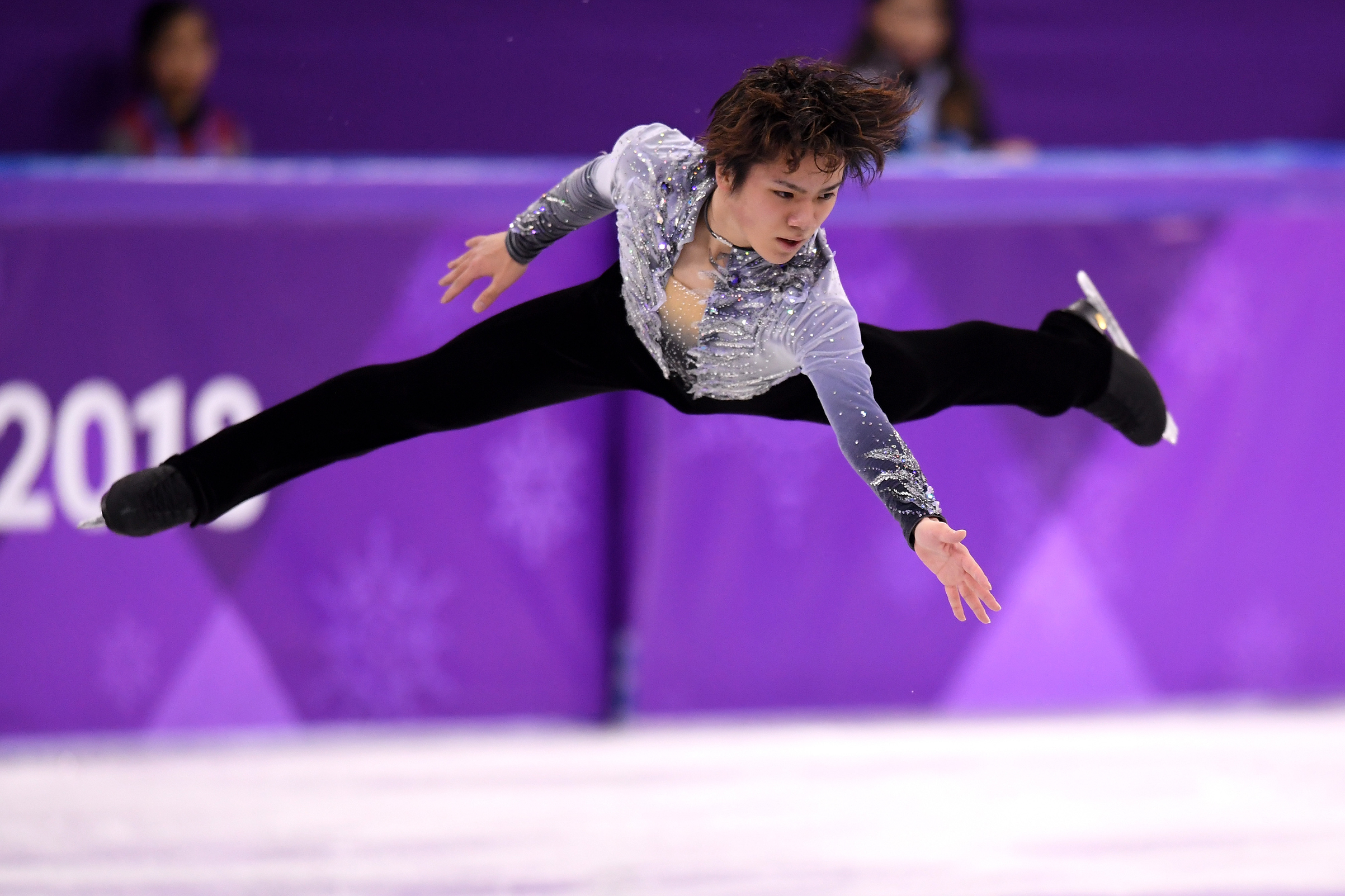 Shoma Uno of Japan competes during the Men's Single Skating Short Program at Gangneung Ice Arena on Feb. 16, 2018 in Gangneung, South Korea.