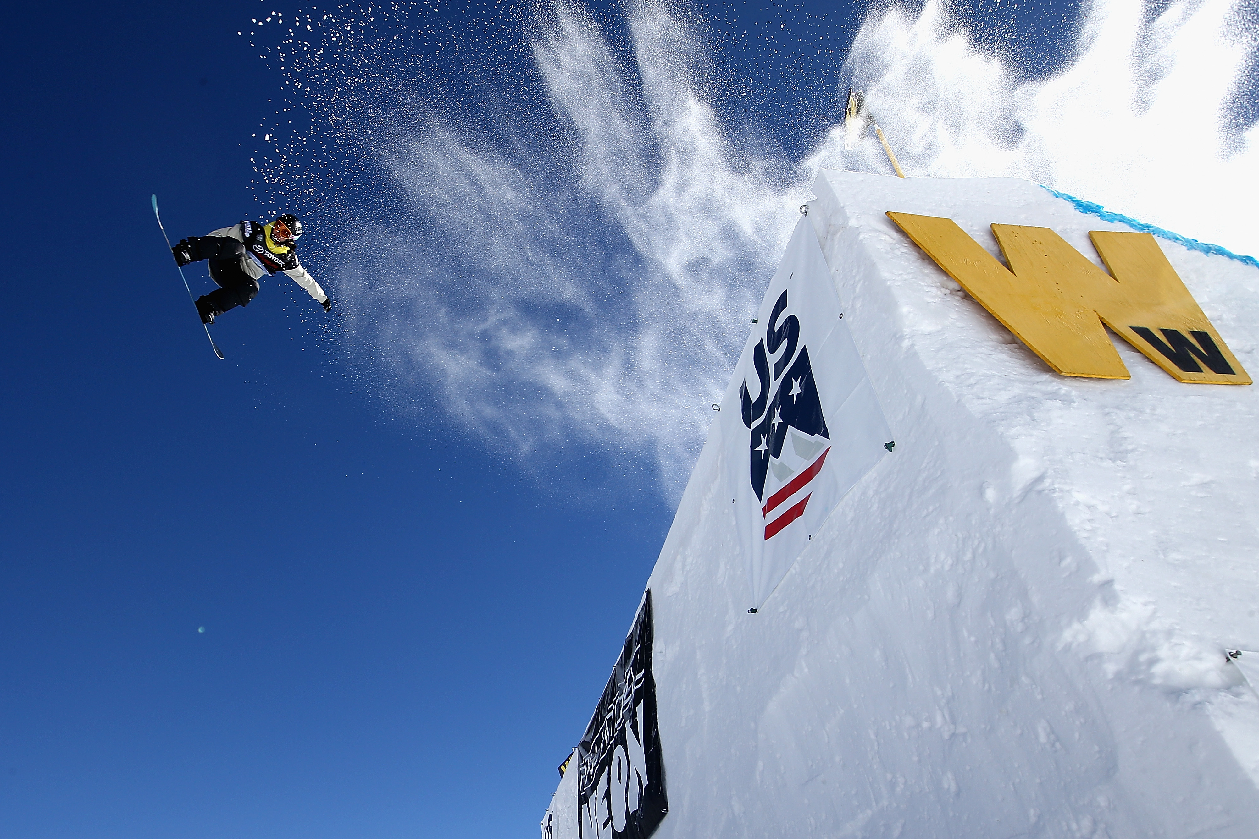 Sina Candrian of Switzerland competes in the final of the FIS Snowboard World Cup 2018 Ladies' Big Air during the Toyota U.S. Grand Prix on December 10, 2017 in Copper Mountain, Colorado. Sean M. Haffey—Getty Images
