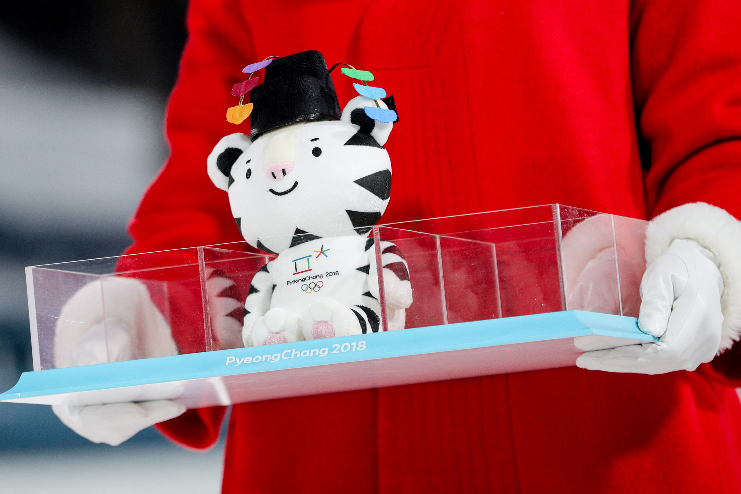 A plush toy of the PyeongChang 2018 Winter Olympic Games mascot Soohorang at a flower ceremony for the ladies' cross-country skiing individual sprint classic event during the 2018 Winter Olympic Games, at the Alpensia Cross-Country Skiing Centre