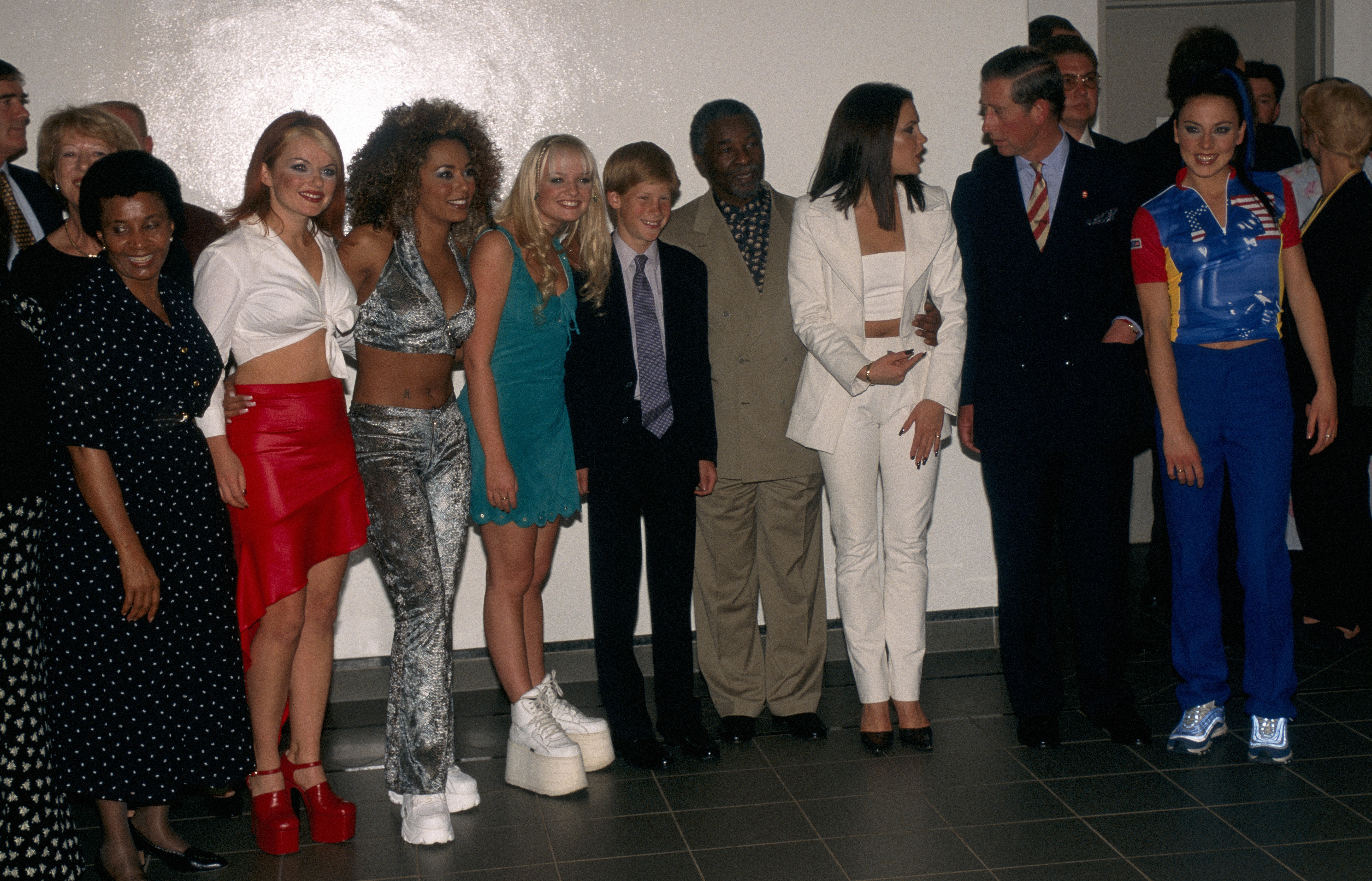 Spice Girls with Prince Charles and Prince Harry in the concert in Johannesburg, South Africa on November 01, 1997.