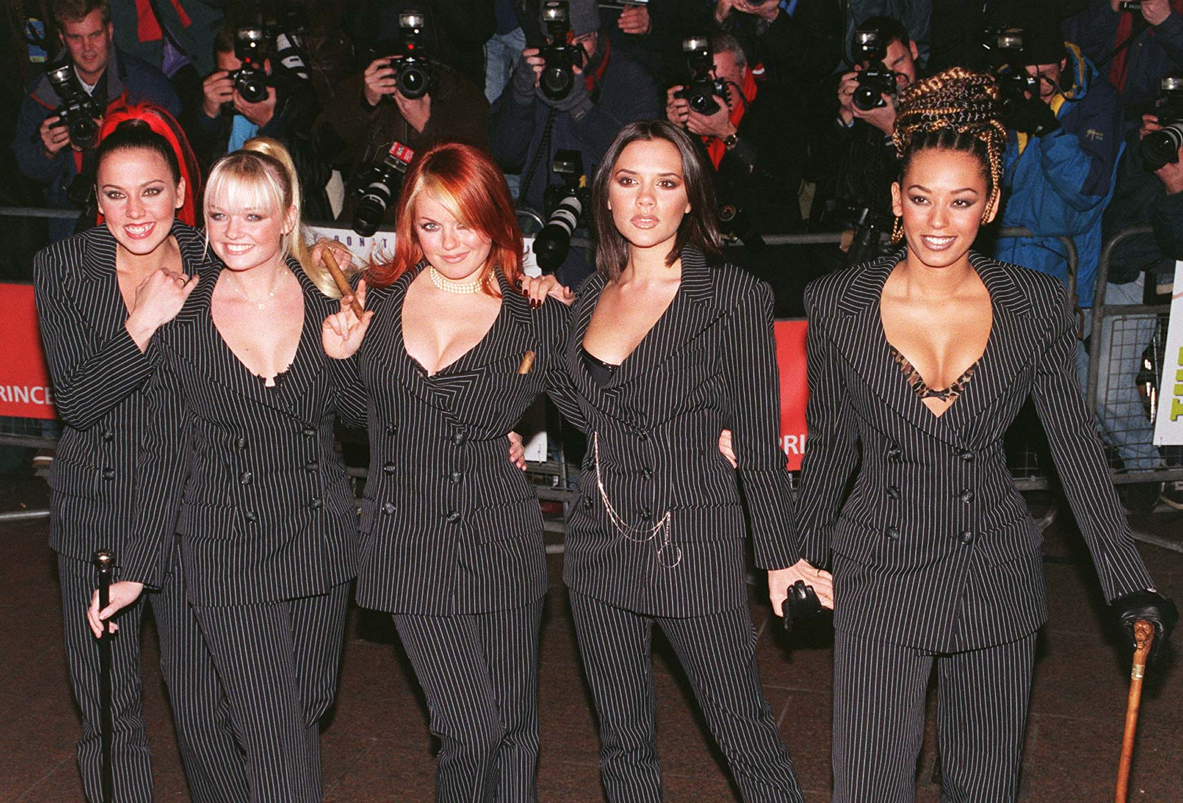 The Spice Girls arrive at the Empire, Leicester Square, for tonight's (Monday) gala premiere of the film Spice - The Movie, which was attended by the Prince of Wales and the young princes Harry and William.