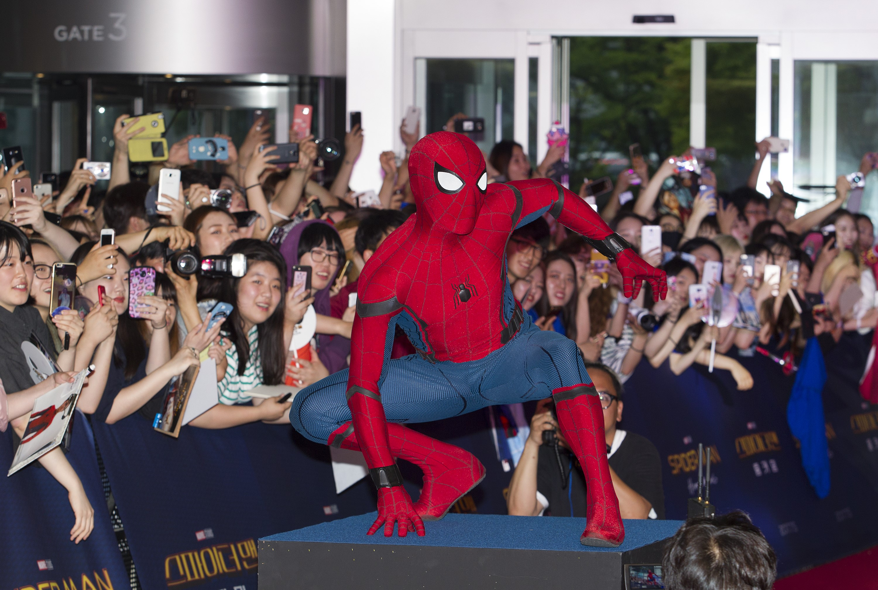 SEOUL - SOUTH KOREA - JULY 02: A man in Spider-Man costume poses during the Red Carpet Event for 'Spider-Man : Homecoming' at Times square CGV theater in Seoul, South Korea on July 02, 2017. (Photo by Kim Jong Hyun/Anadolu Agency/Getty Images)