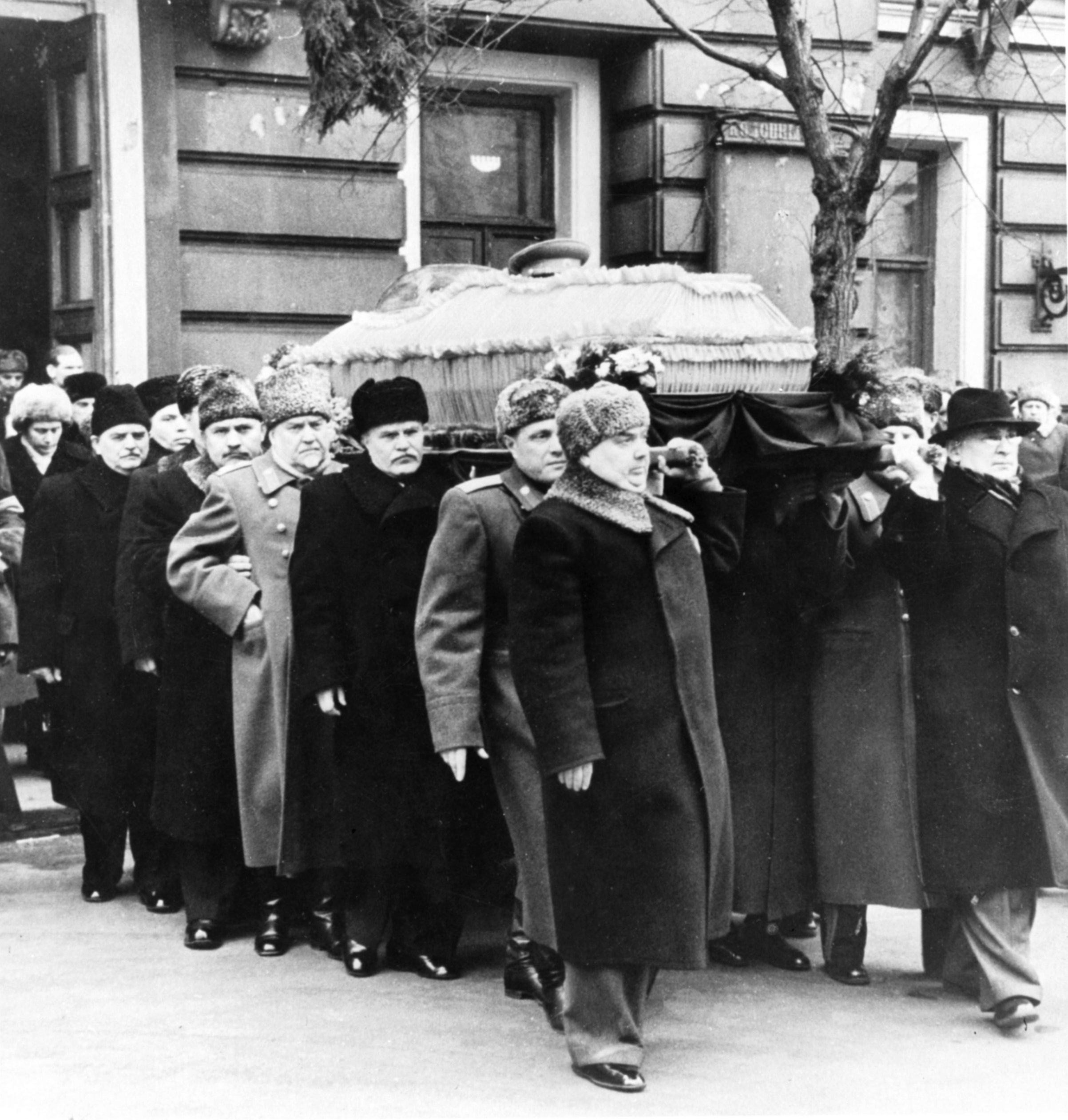 Stalin's coffin is  carried in Moscow, on March 9, 1953. Right to left: L.P. Beria (far right), Premier G.M. Malenkov, General Vassily Stalin, V.M. Molotov, Marshal N. Bulganin, L. Kaganovich, N. Shvernik.