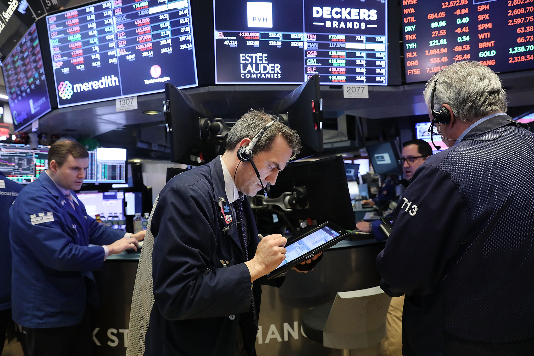 Traders work on the floor of the New York Stock Exchange (NYSE) on Feb. 6, 2018 in New York.