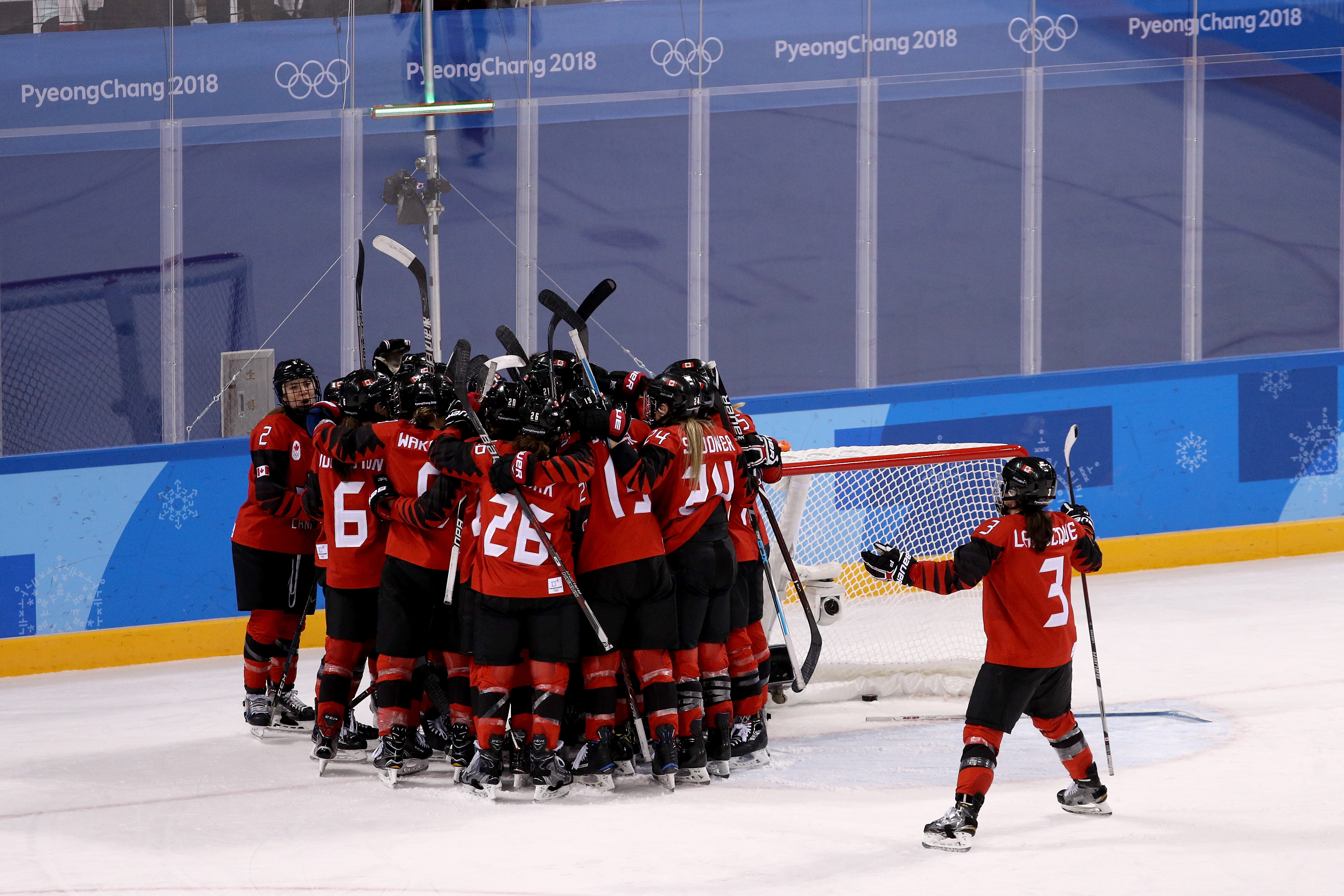 Canada celebrates after defeating the United States 2-1 during the Women's Ice Hockey Preliminary Round Group A game on day six of the PyeongChang 2018 Winter Olympic Games at Kwandong Hockey Centre on February 15, 2018 in Gangneung, South Korea.