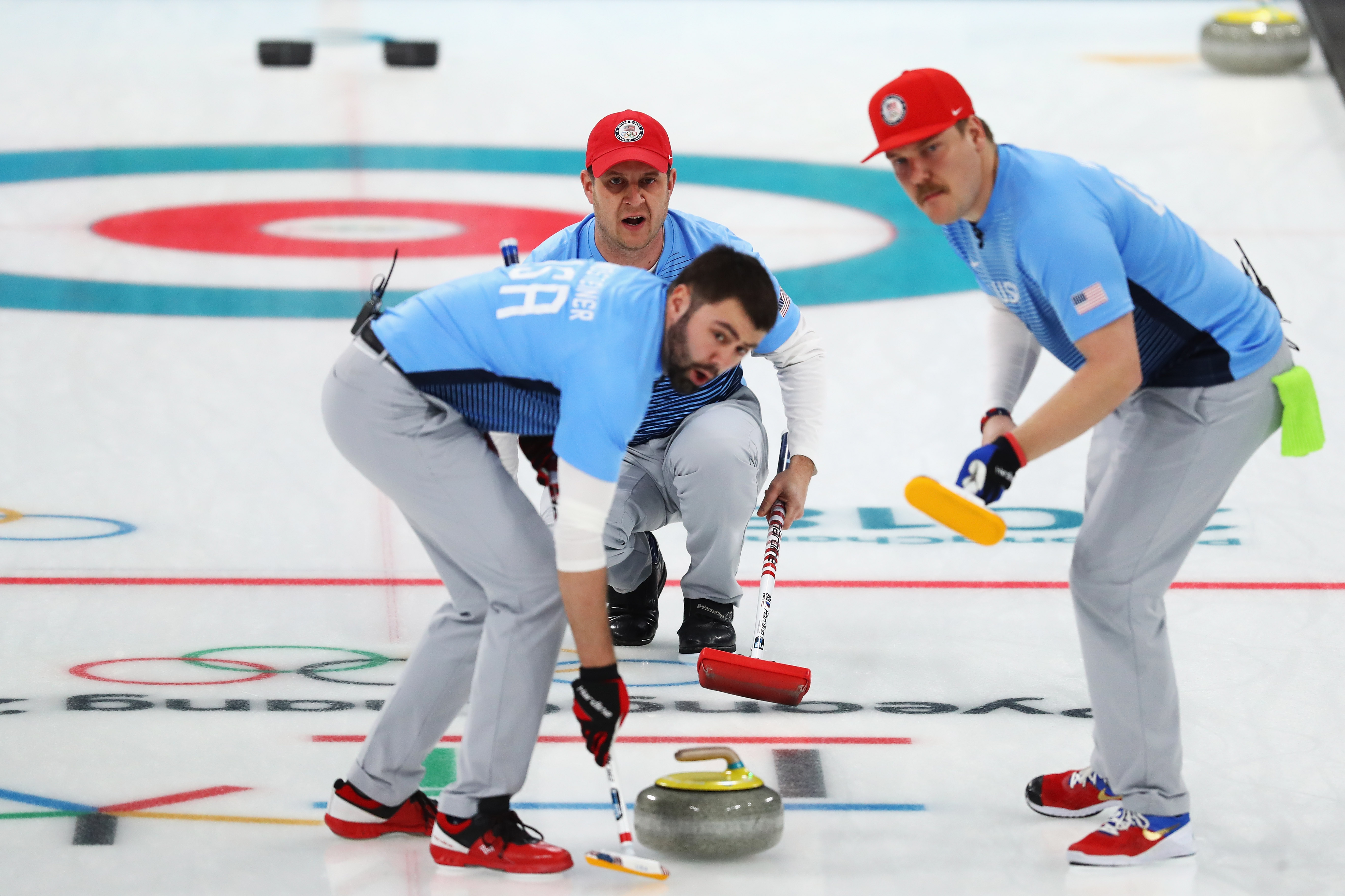 Matt Hamilton, John Shuster, John Landsteiner of USA compete in the Curling Men's Semi-final against Canada on day thirteen of the PyeongChang 2018 Winter Olympic Games at Gangneung Curling Centre on February 22, 2018 in Gangneung, South Korea.